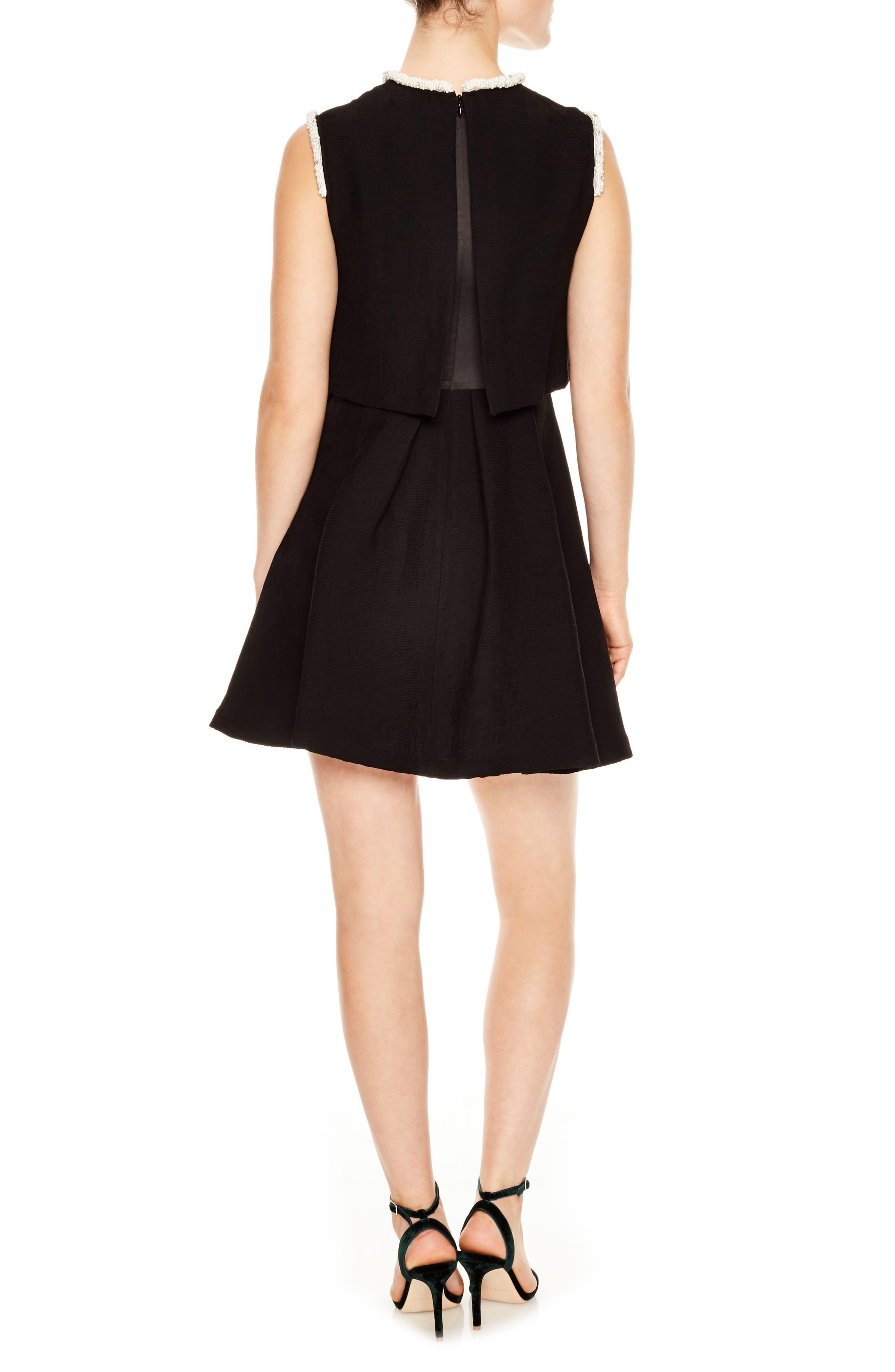 Ouma Jewel Neck Flare Dress,                             Alternate thumbnail 2, color,                             Black