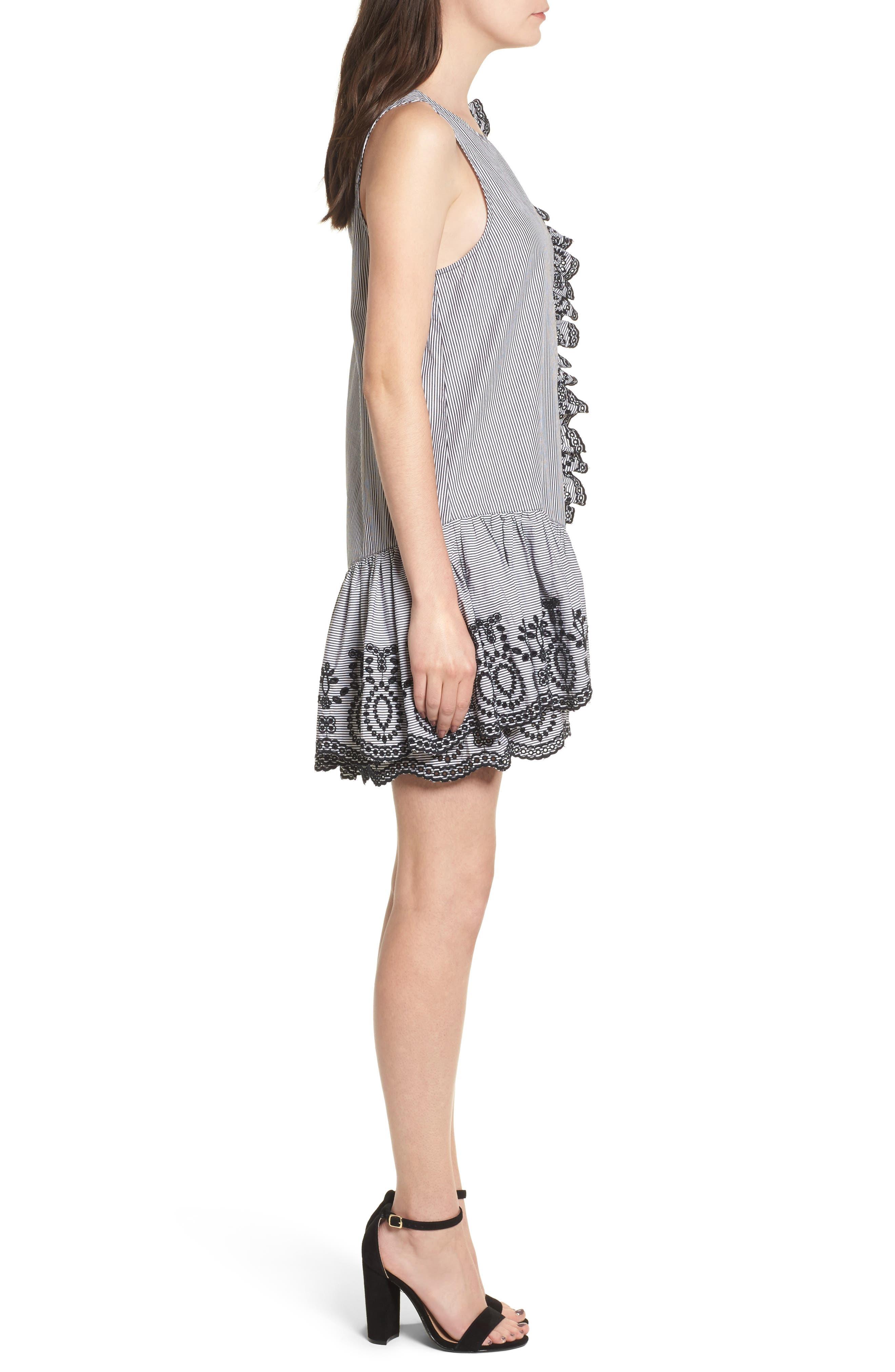 Lace Trim Drop Waist Dress,                             Alternate thumbnail 3, color,                             Black Jenny Stripe