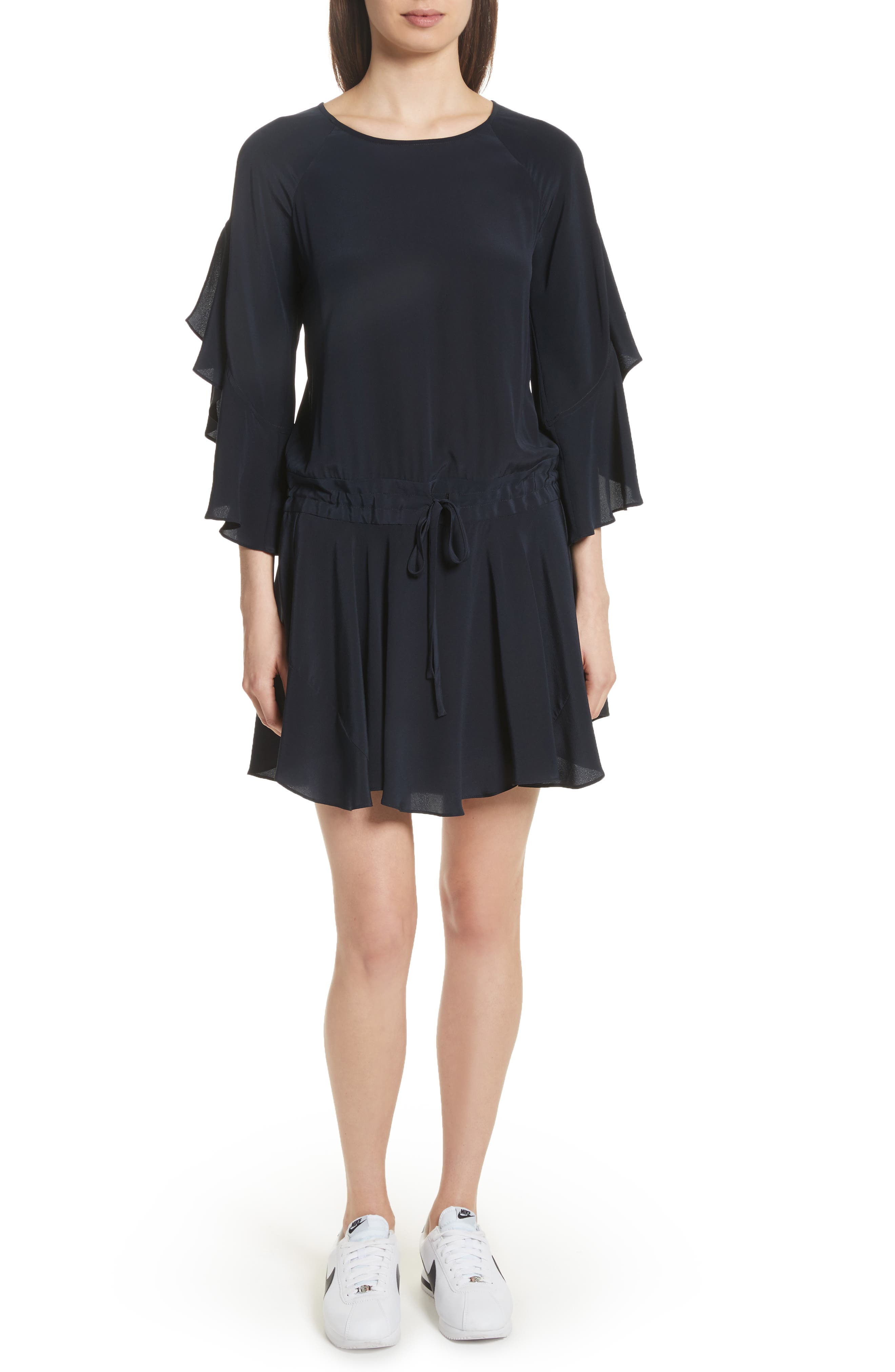Cannon Flutter Sleeve Silk Dress,                         Main,                         color, Midnight