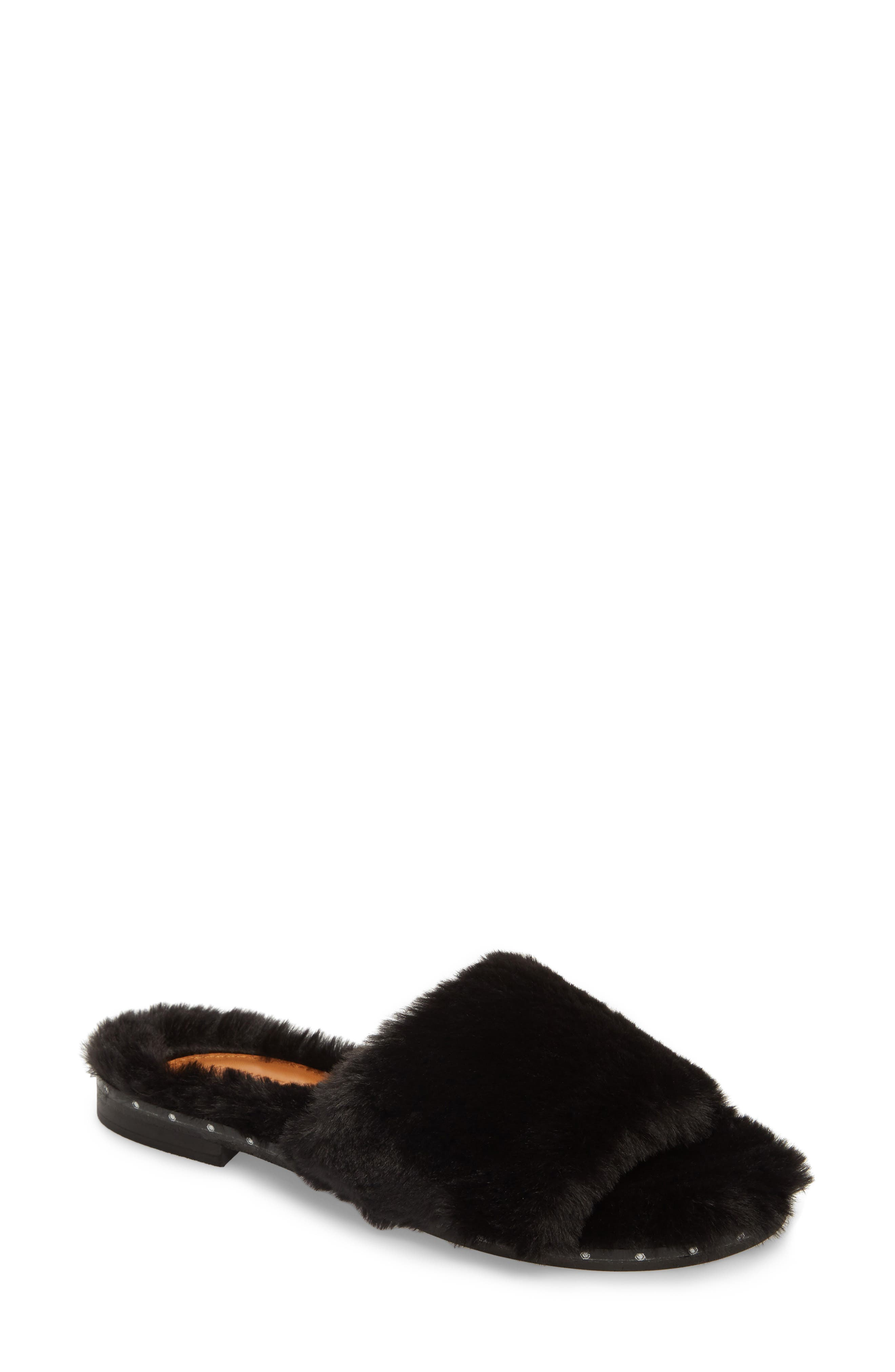 Peggy Faux Fur Slide Sandal,                             Main thumbnail 1, color,                             Black Faux Fur