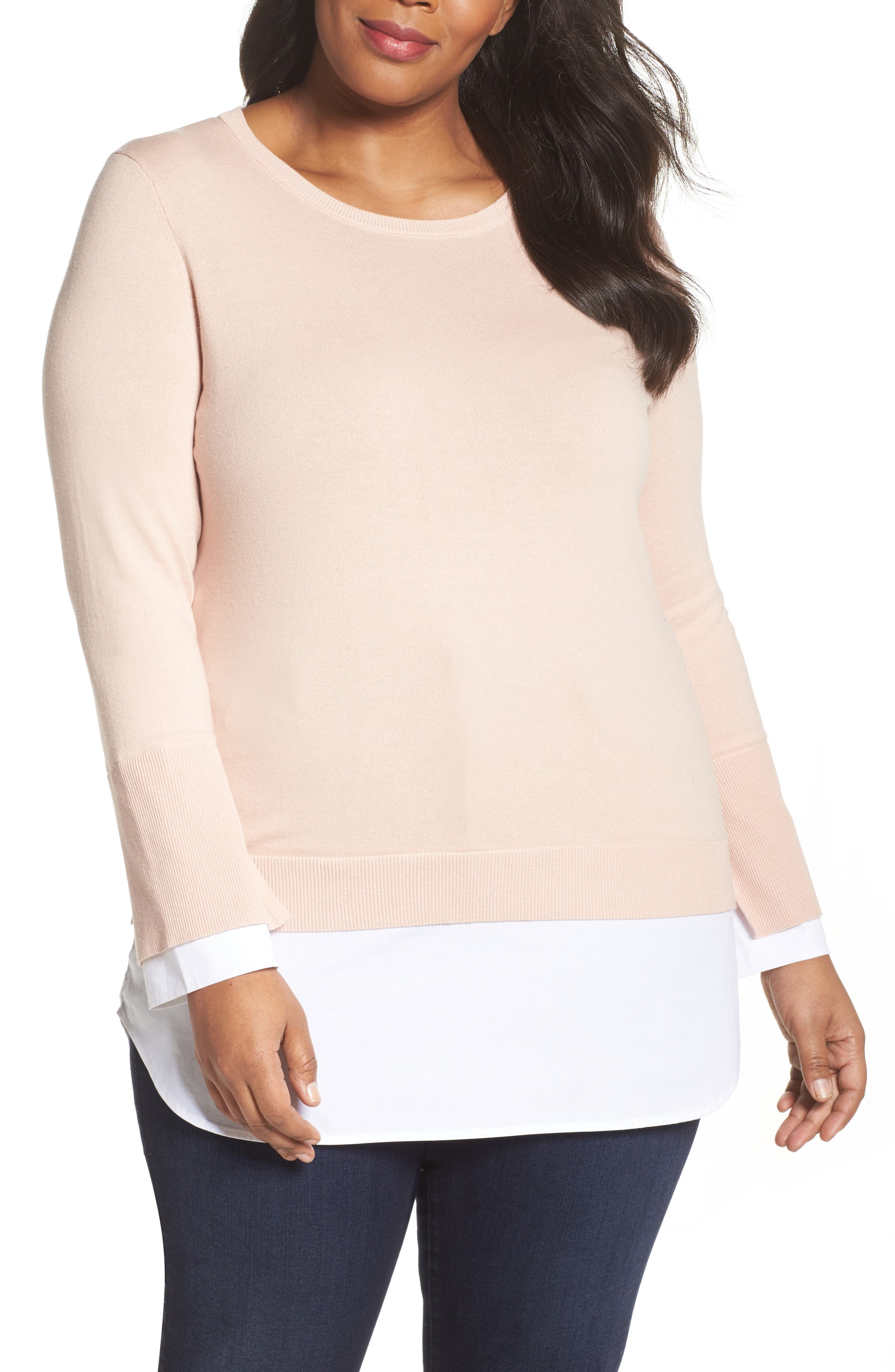 Layered Look Sweater,                         Main,                         color, Rose Buff
