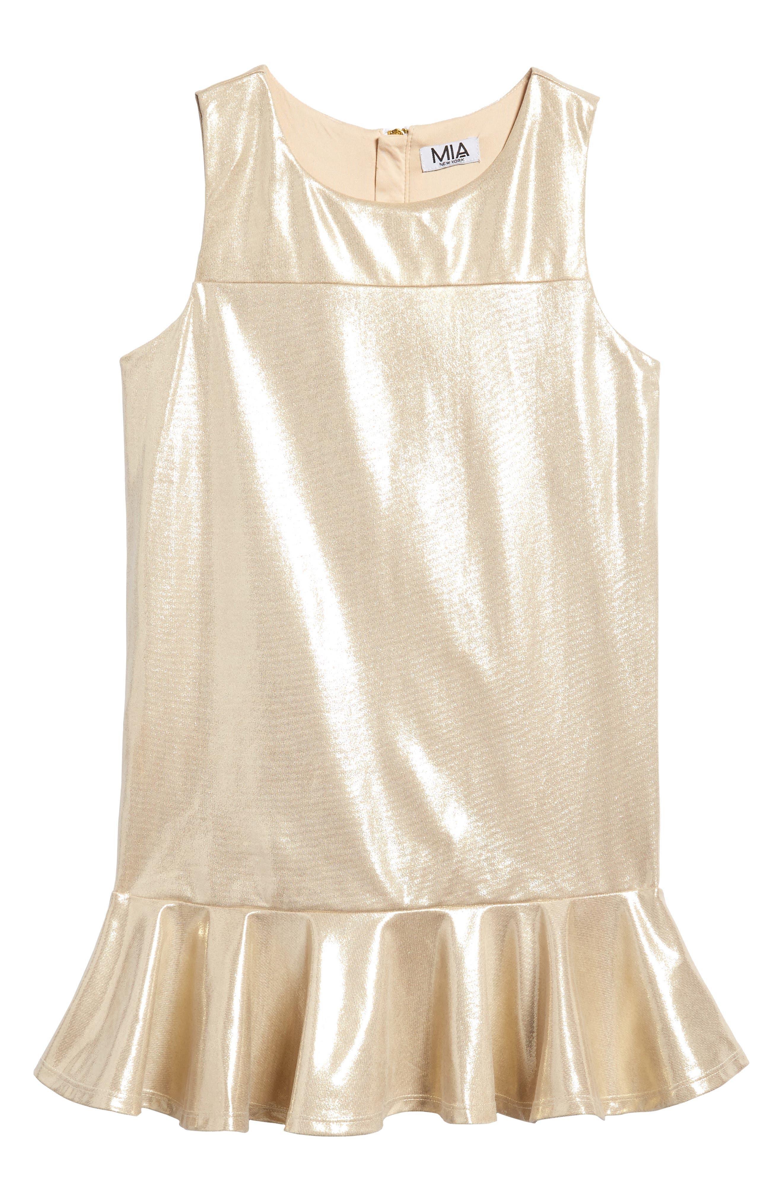 Liquid Shine Dress,                         Main,                         color, Gold