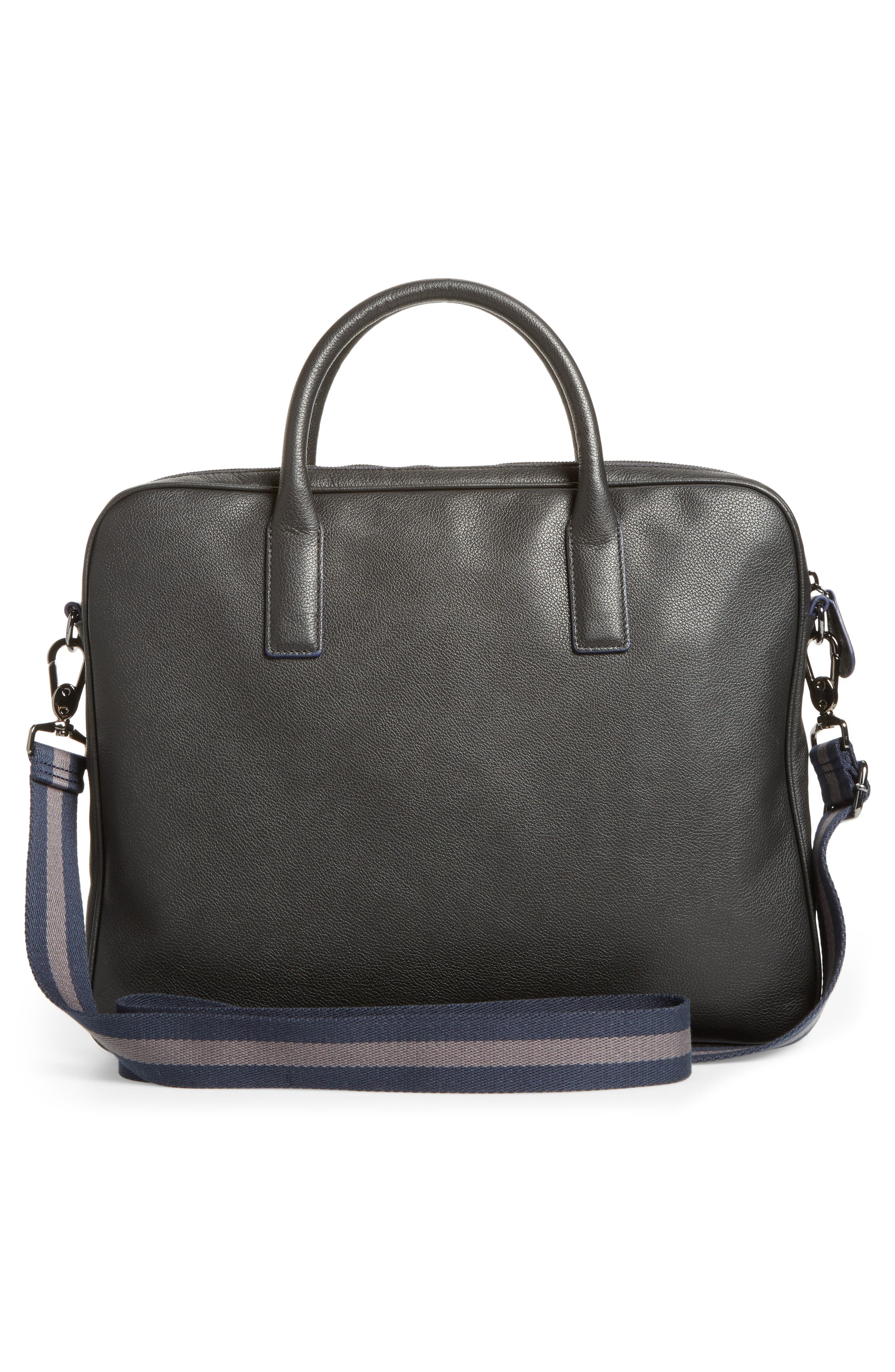 Lowmee Leather Briefcase,                             Alternate thumbnail 3, color,                             Black