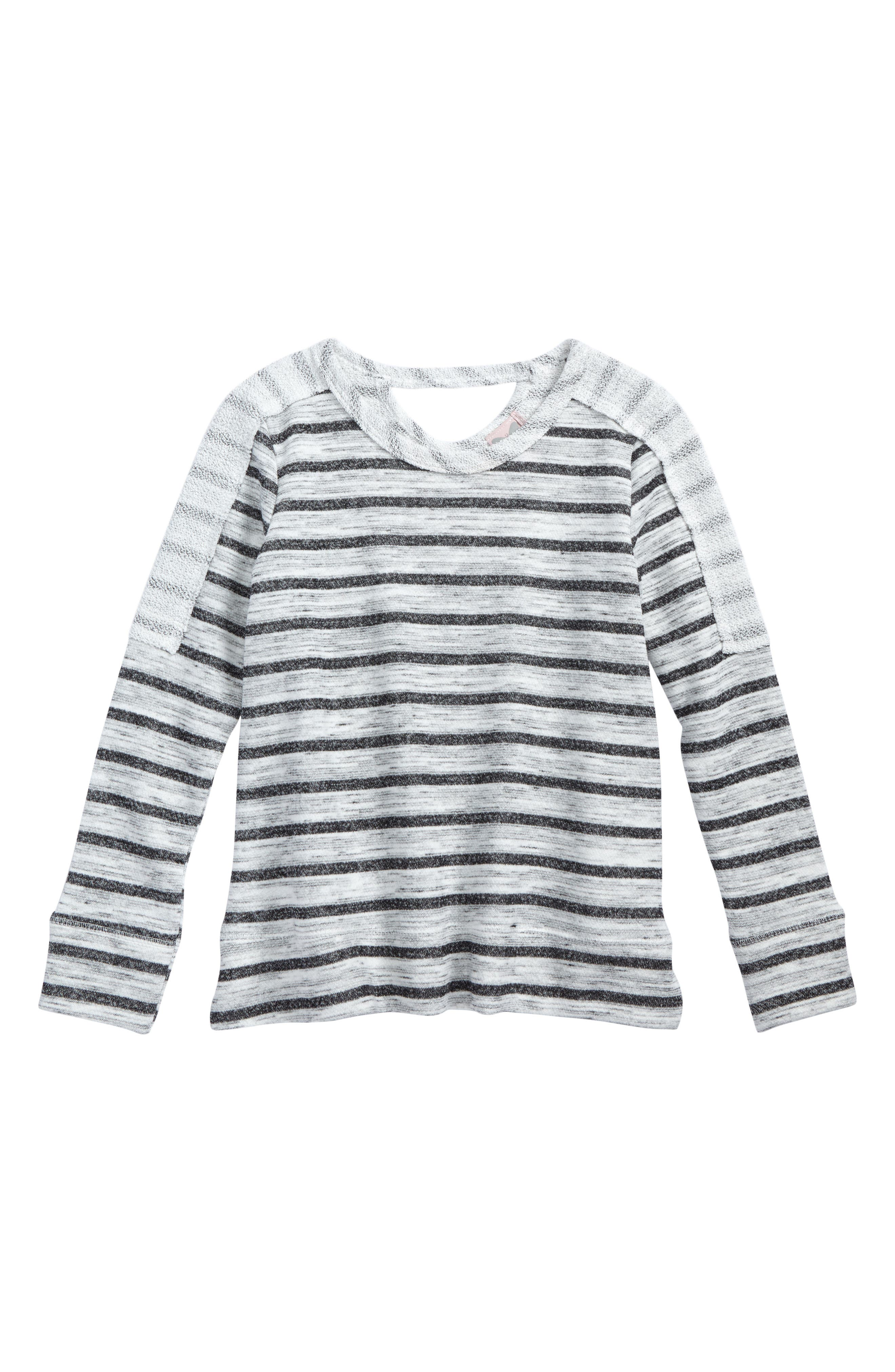 Mixed Media Stripe Top,                         Main,                         color, White/ Charcoal