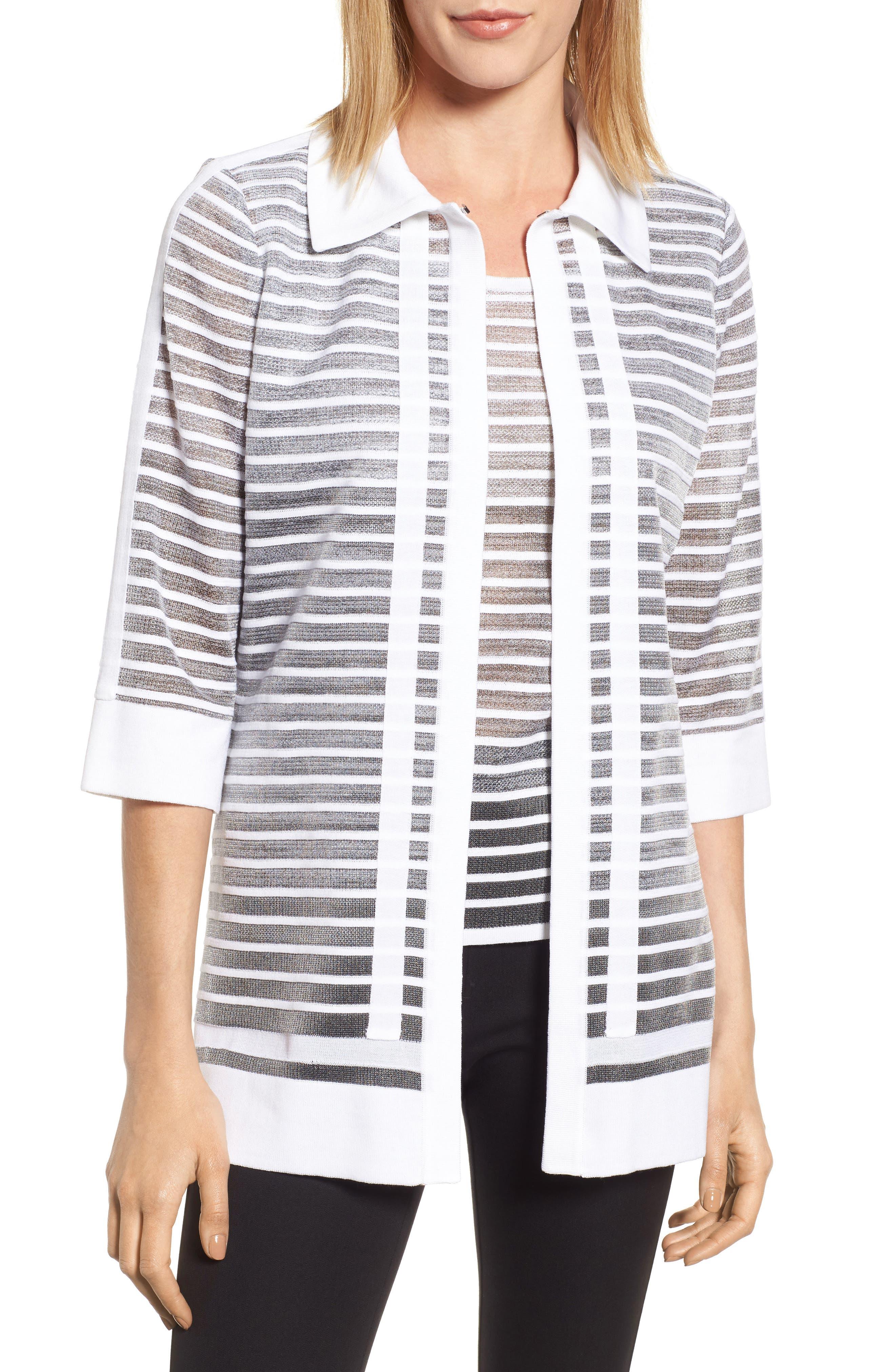 Stripe Jacquard Jacket,                         Main,                         color, White/ Black