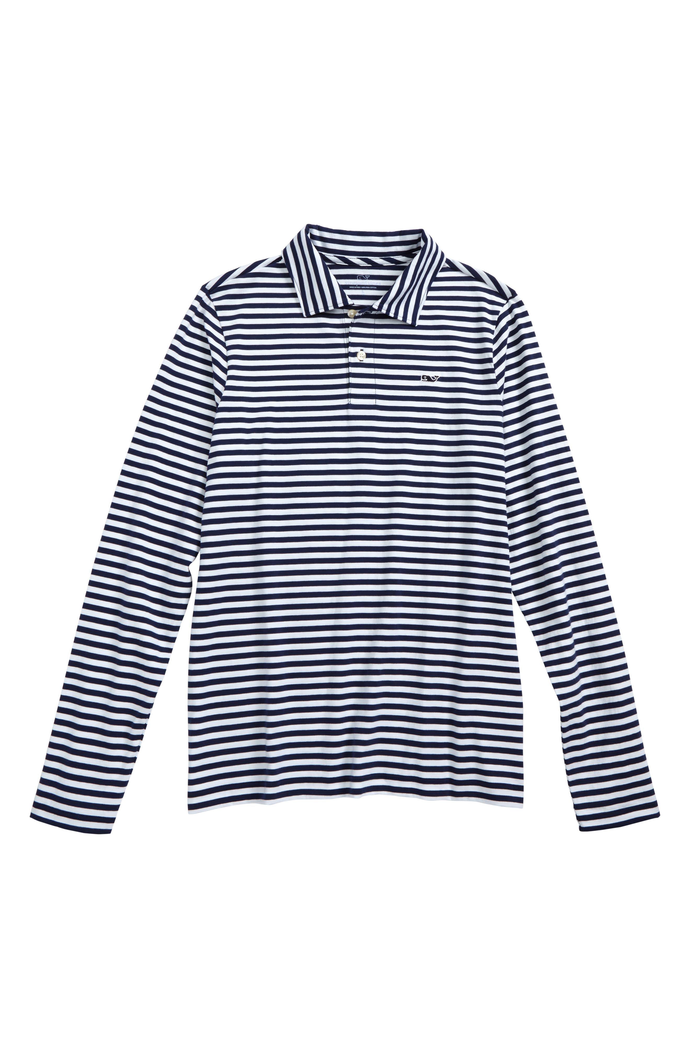 Stripe Long Sleeve Polo,                         Main,                         color, Deep Bay