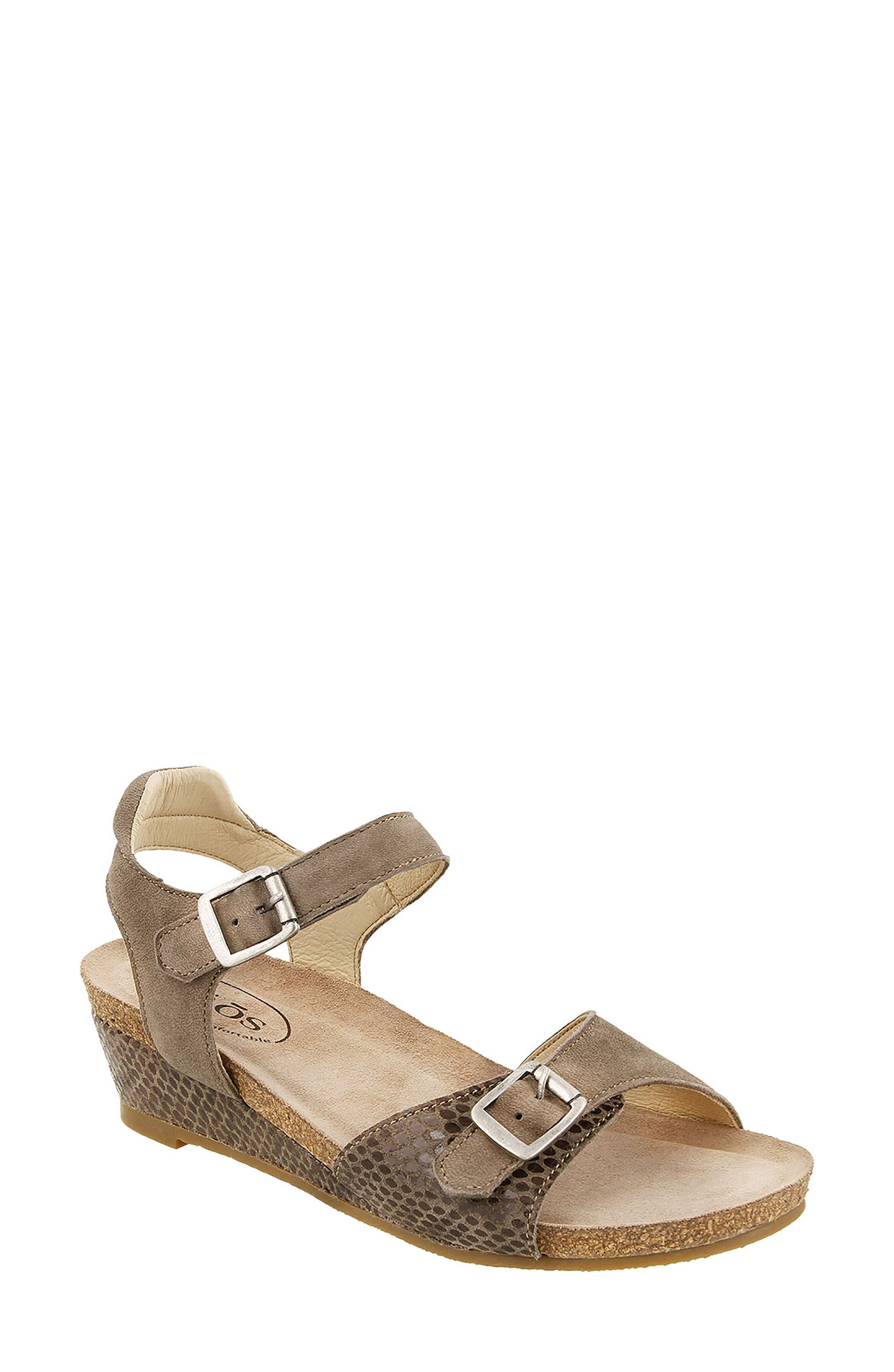 Traveler Wedge Sandal,                             Main thumbnail 1, color,                             Taupe Reptile Embossed Leather