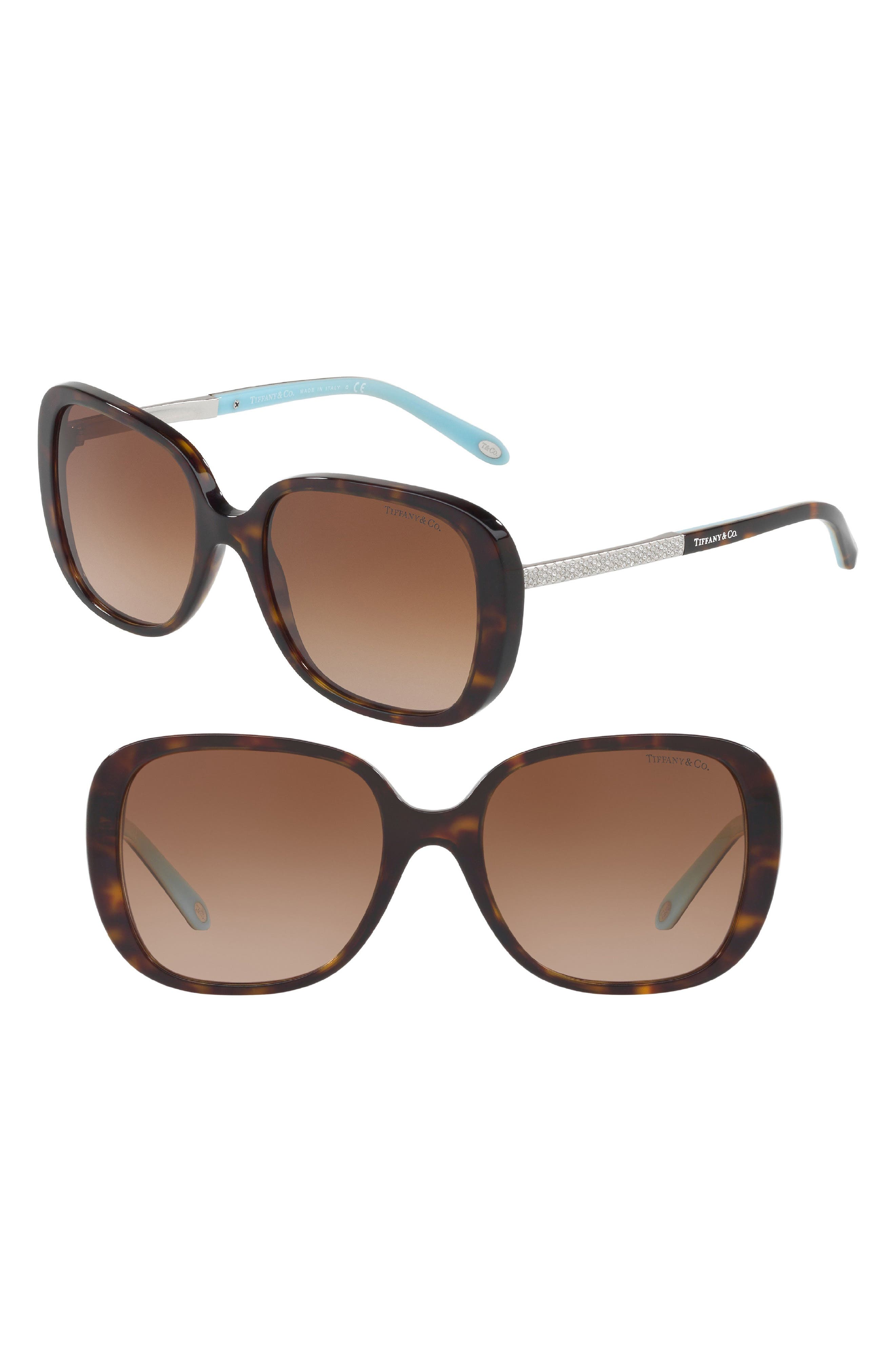 54mm Gradient Sunglasses,                         Main,                         color, Dark Havana