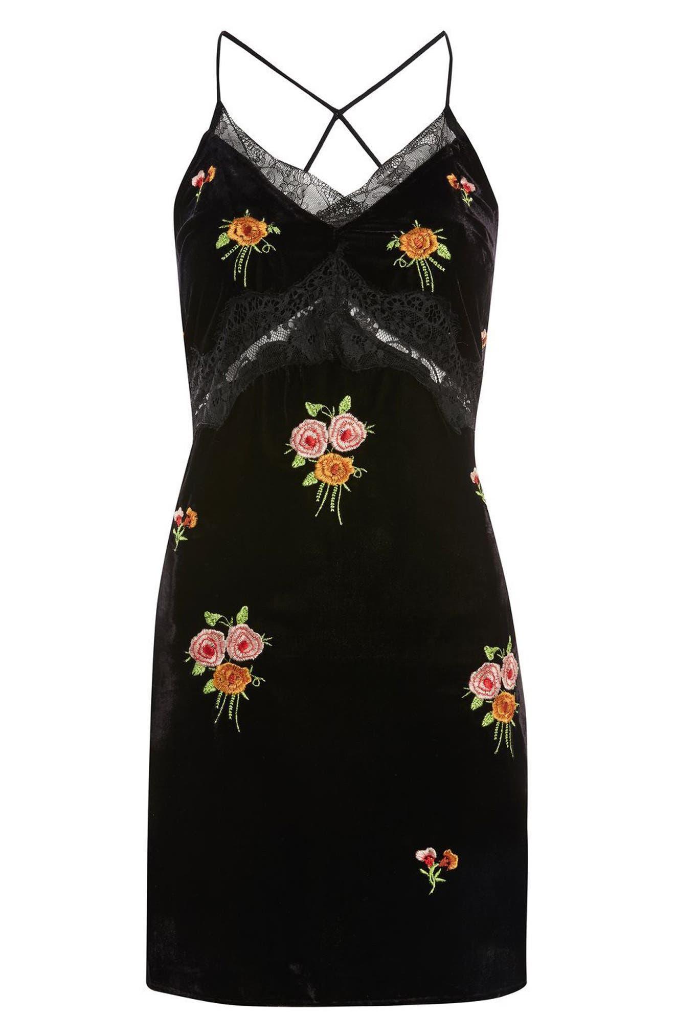 Embroidered Velvet Slipdress,                             Alternate thumbnail 4, color,                             Black Multi