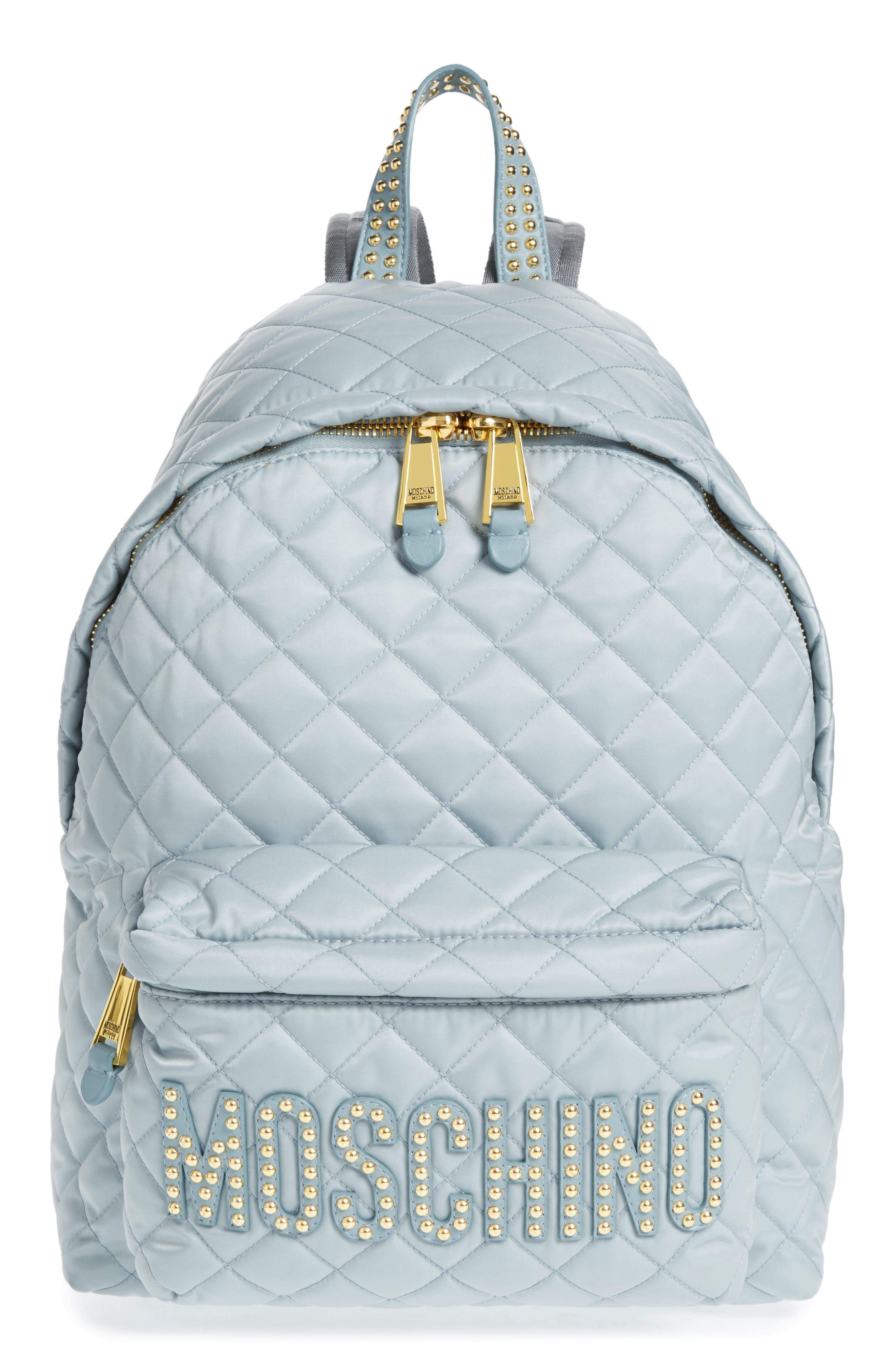 Studded Logo Quilted Nylon Backpack,                             Main thumbnail 1, color,                             Light Blue
