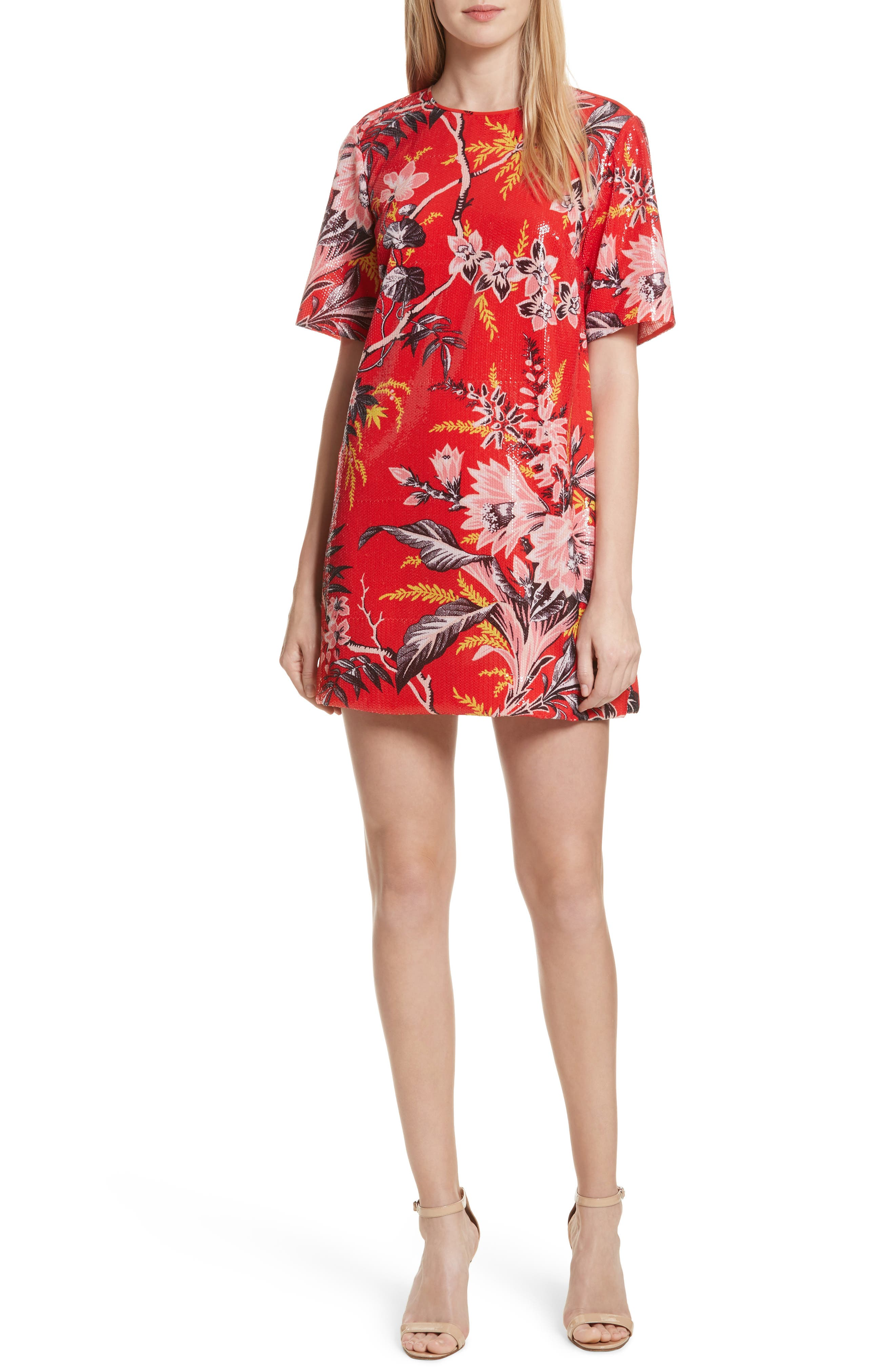 Diane von Furstenberg Fluid Sequin Minidress,                         Main,                         color, Avalon Poppy