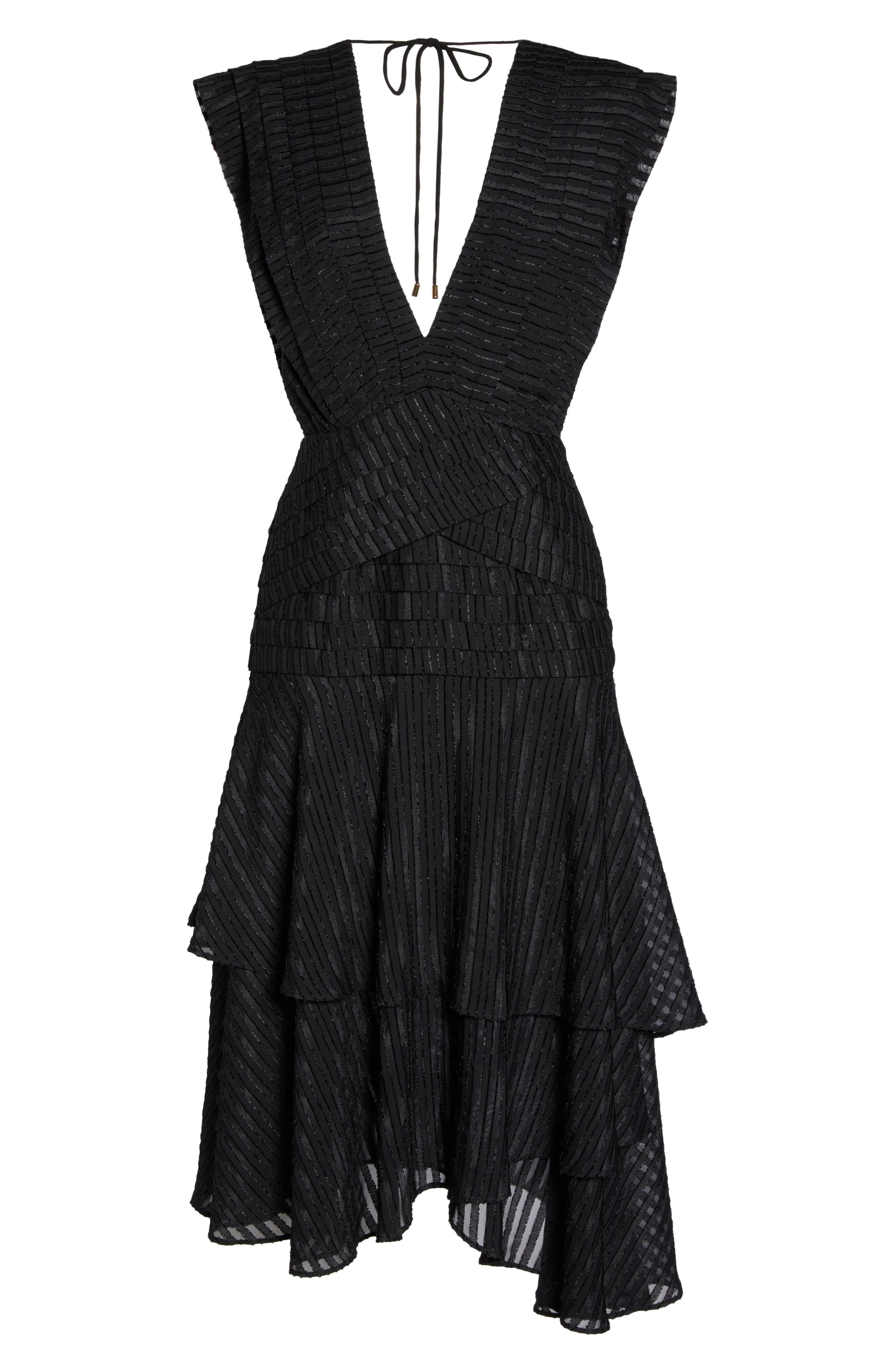 Waterfall Burnout Stripe Dress,                             Alternate thumbnail 7, color,                             Black