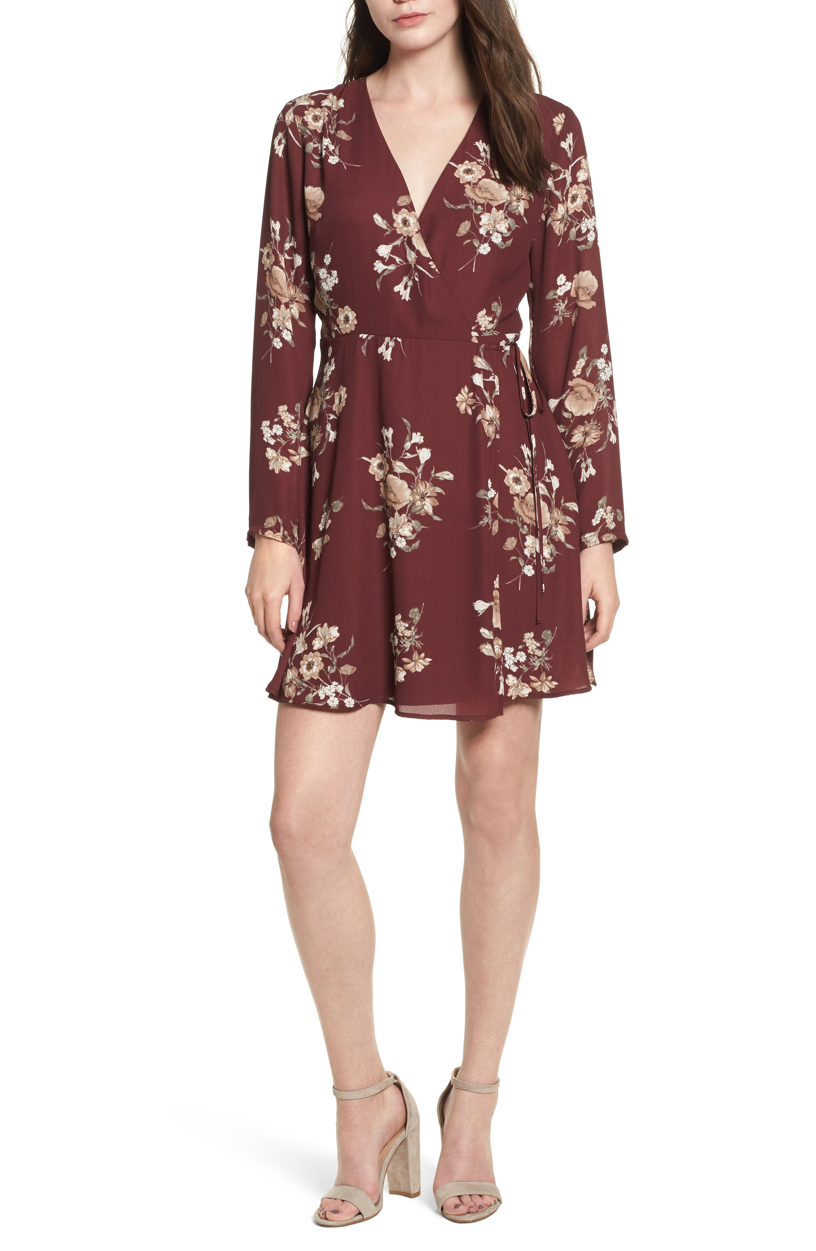 Elly Wrap Dress,                             Main thumbnail 1, color,                             Burgundy Floral