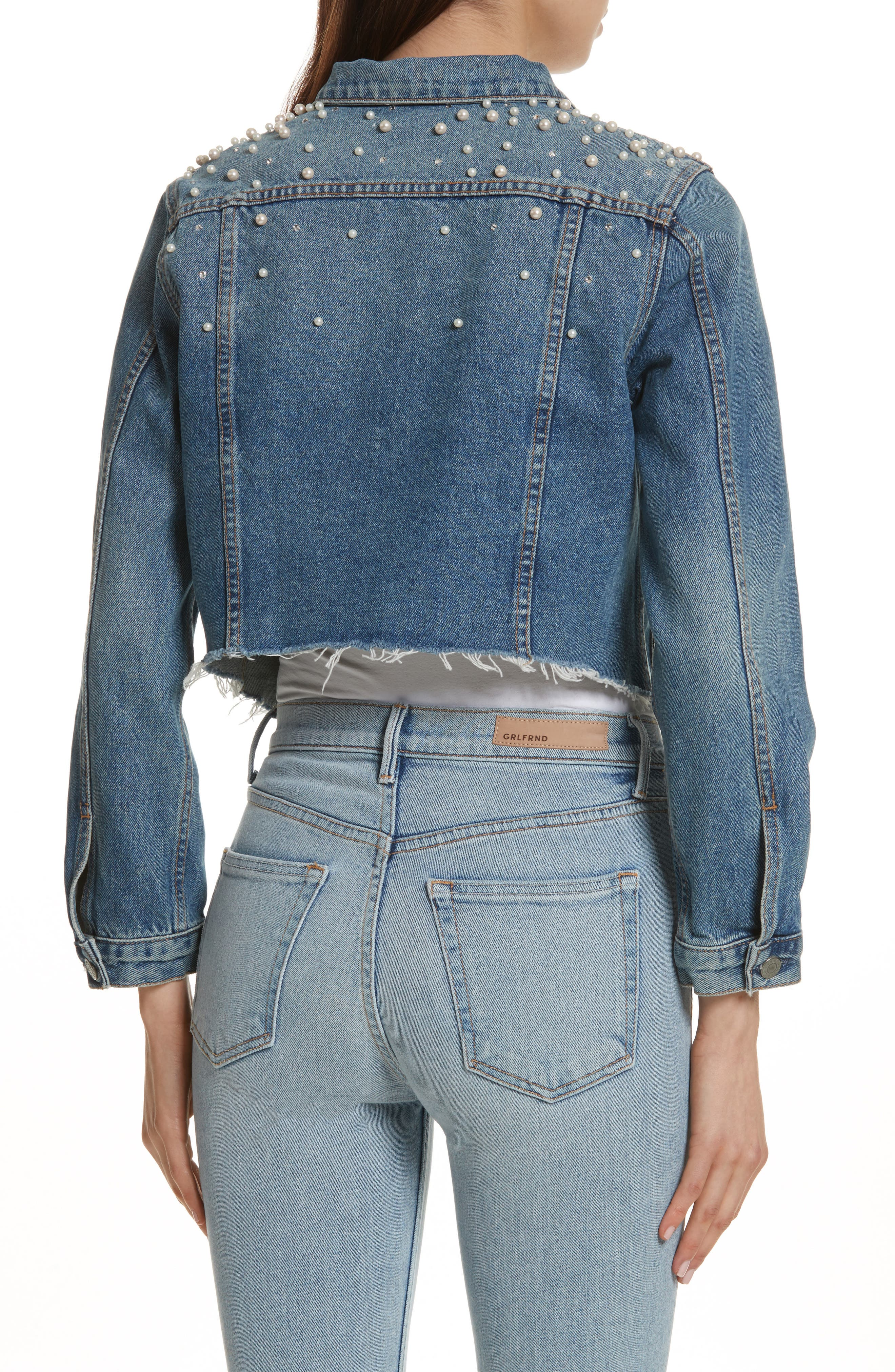 Eve Faux Pearl & Crystal Embellished Crop Denim Jacket,                             Alternate thumbnail 2, color,                             Cosmic Ray