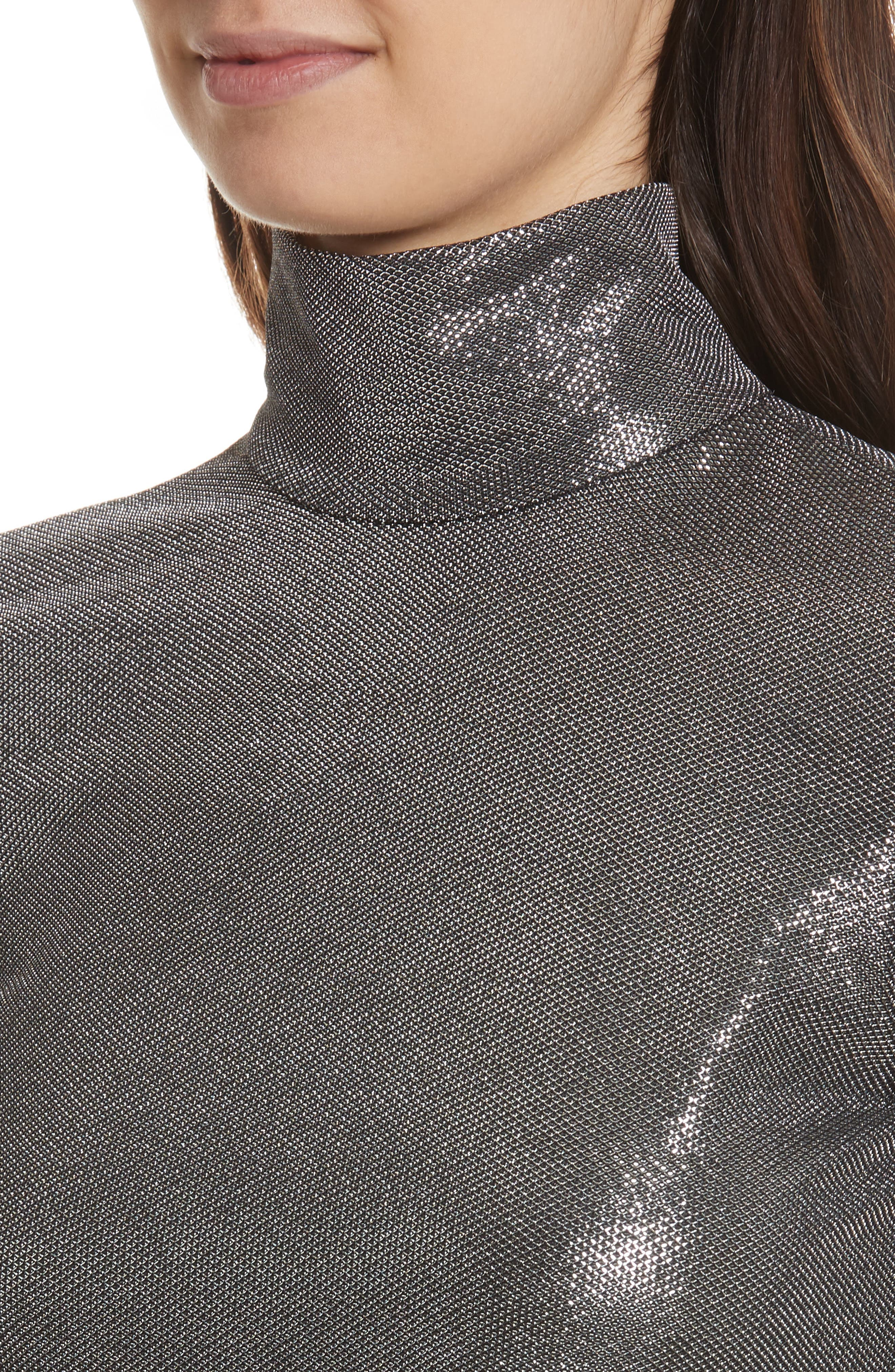 Silver Turtleneck Top,                             Alternate thumbnail 4, color,                             Antique Silver