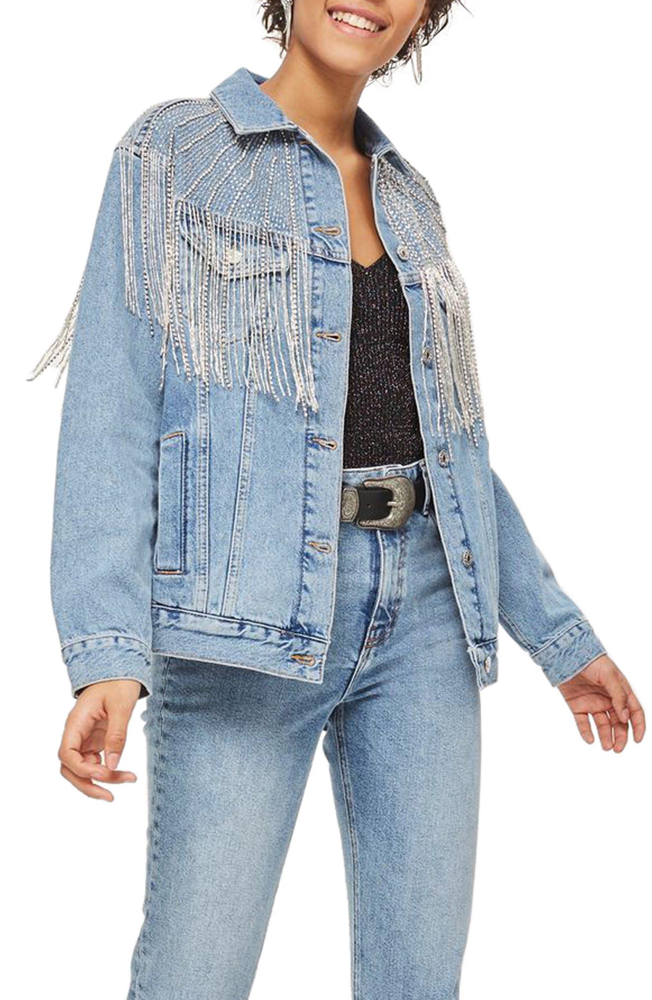 Dolly Sequin Fringe Denim Jacket,                             Main thumbnail 1, color,                             Mid Denim