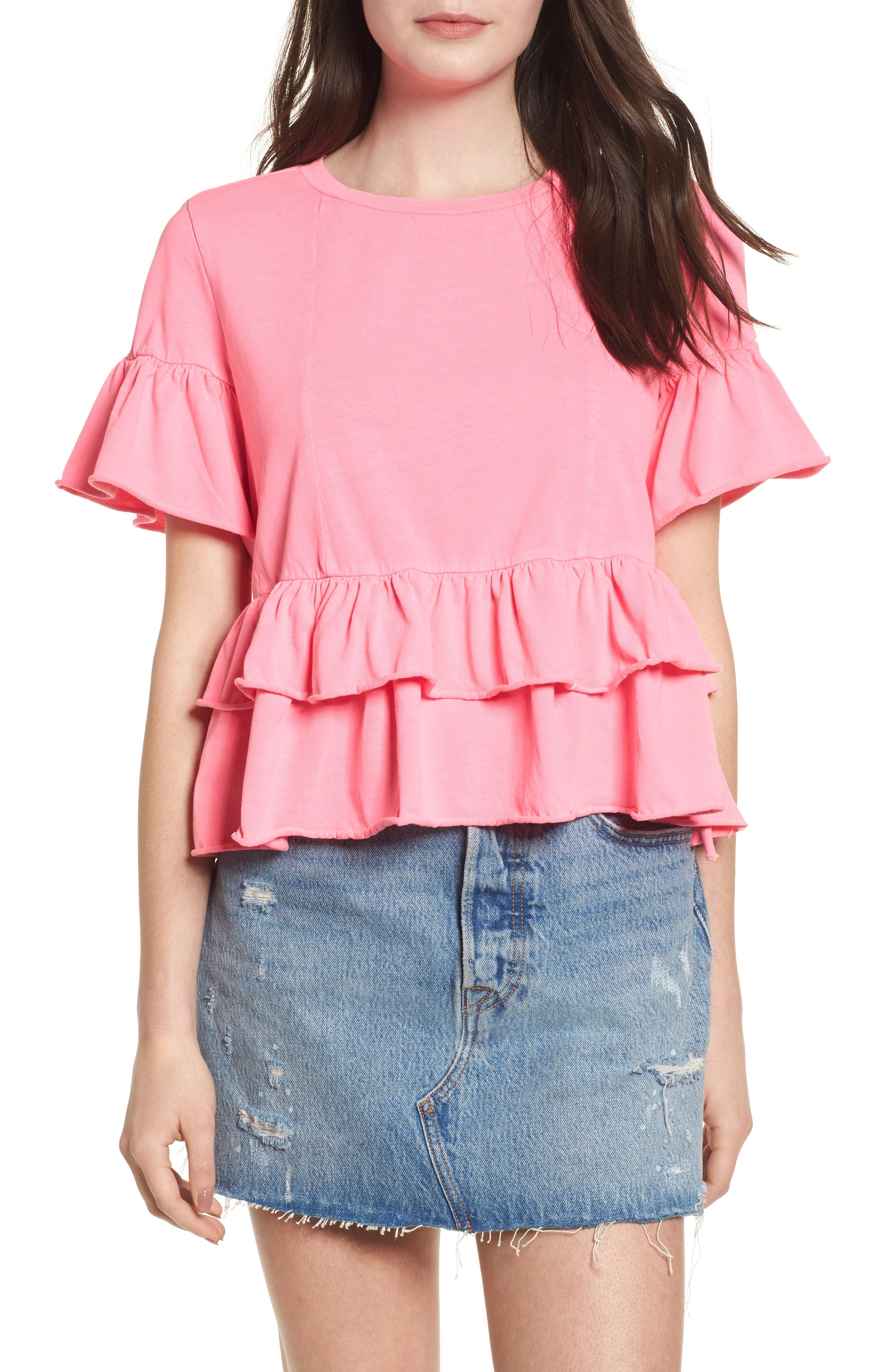 Double Peplum Ruffle Tee,                         Main,                         color, Pink Zenna