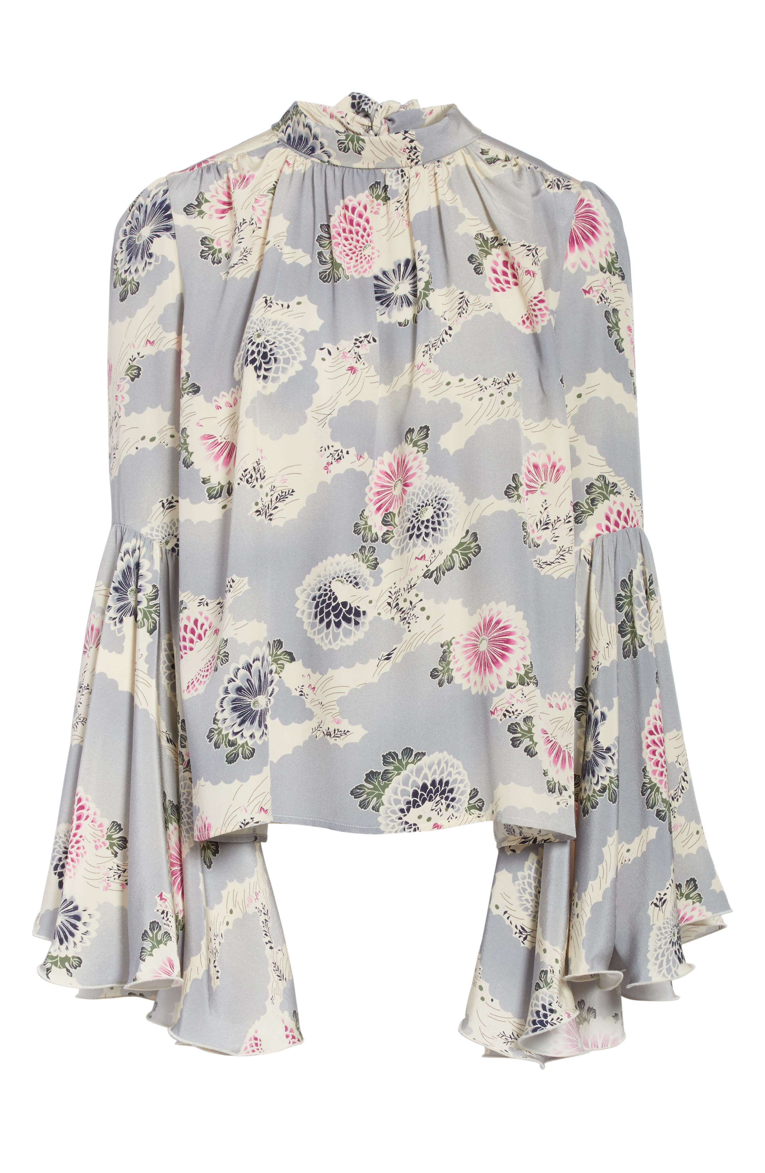 Flutter Sleeve Floral Print Silk Blouse,                             Alternate thumbnail 7, color,                             Chrysanthemum Print