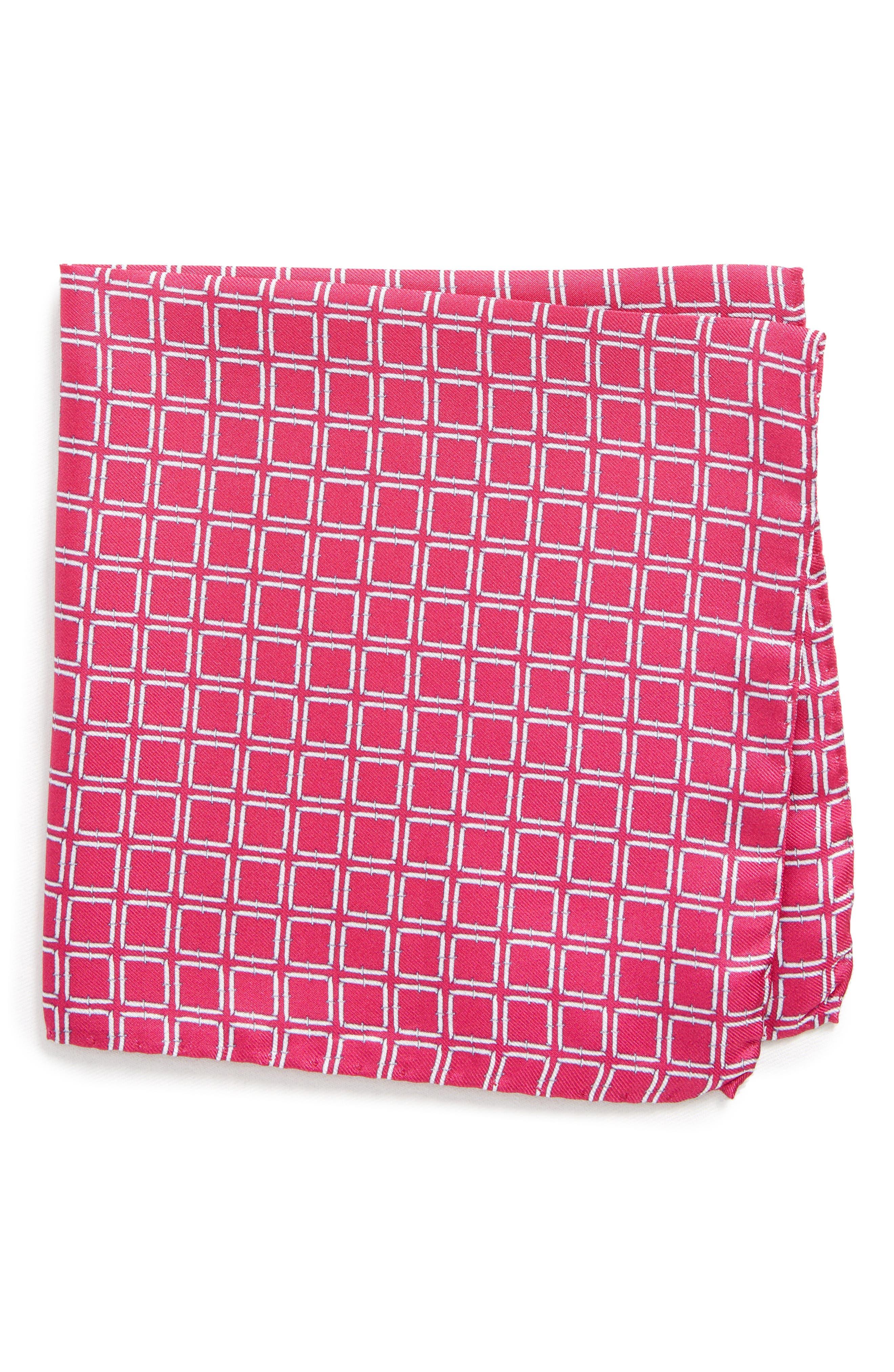 Jack the Knife Silk Pocket Square,                         Main,                         color, Pink