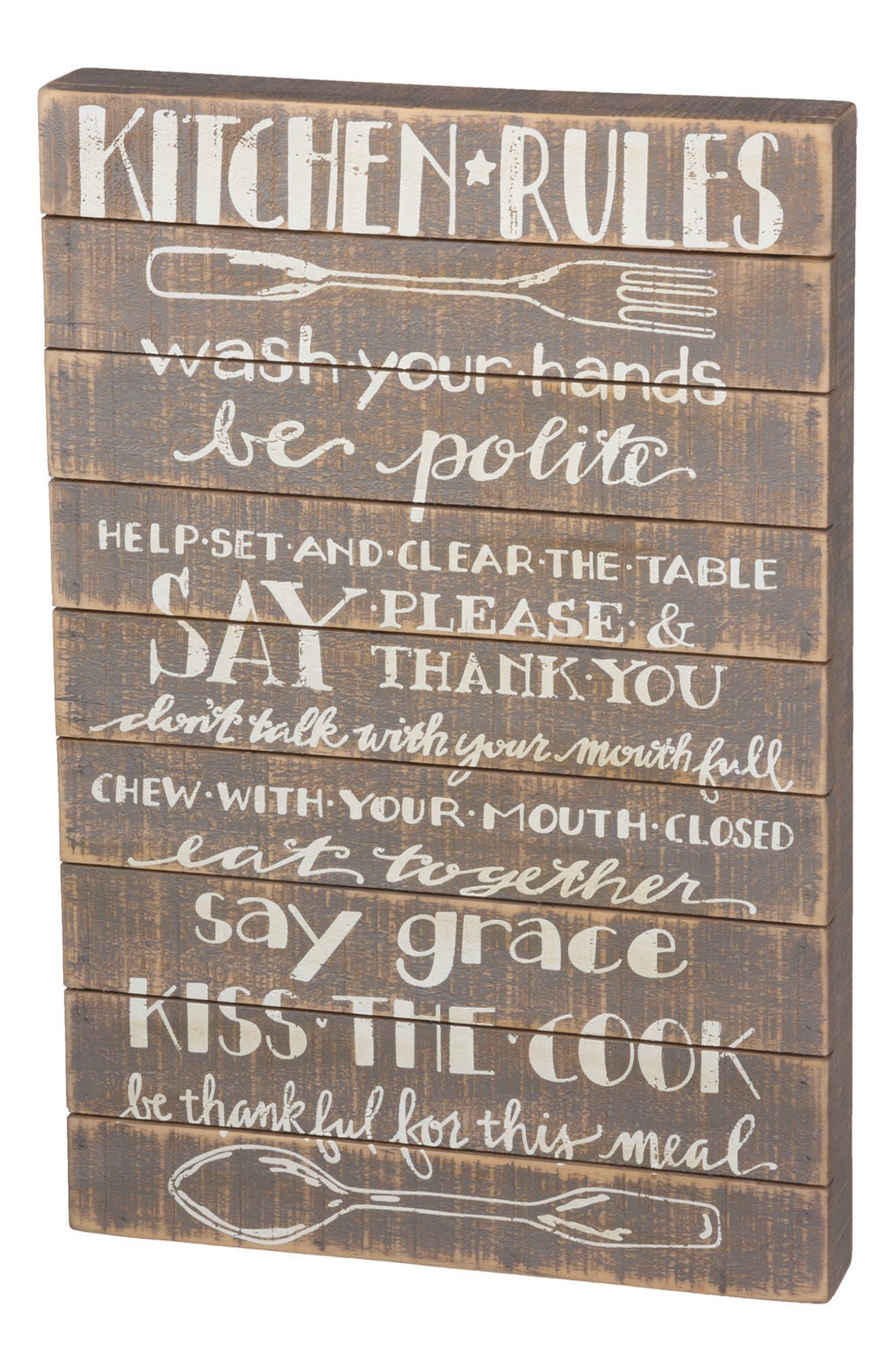 Kitchen Rules Wooden Slat Sign,                         Main,                         color, Grey