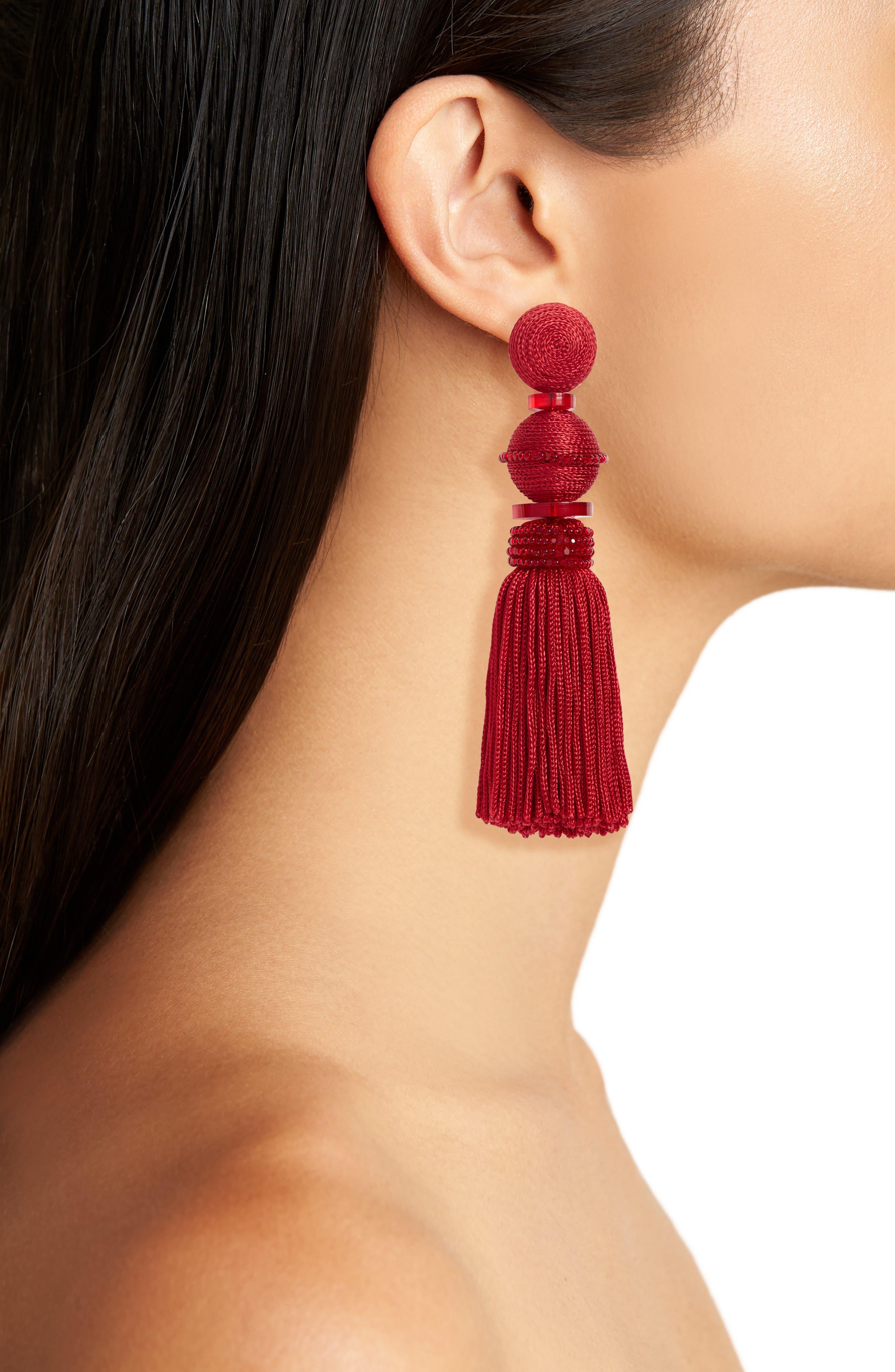 Alternate Image 2  - Oscar de la Renta Clip Tassel Drop Earrings