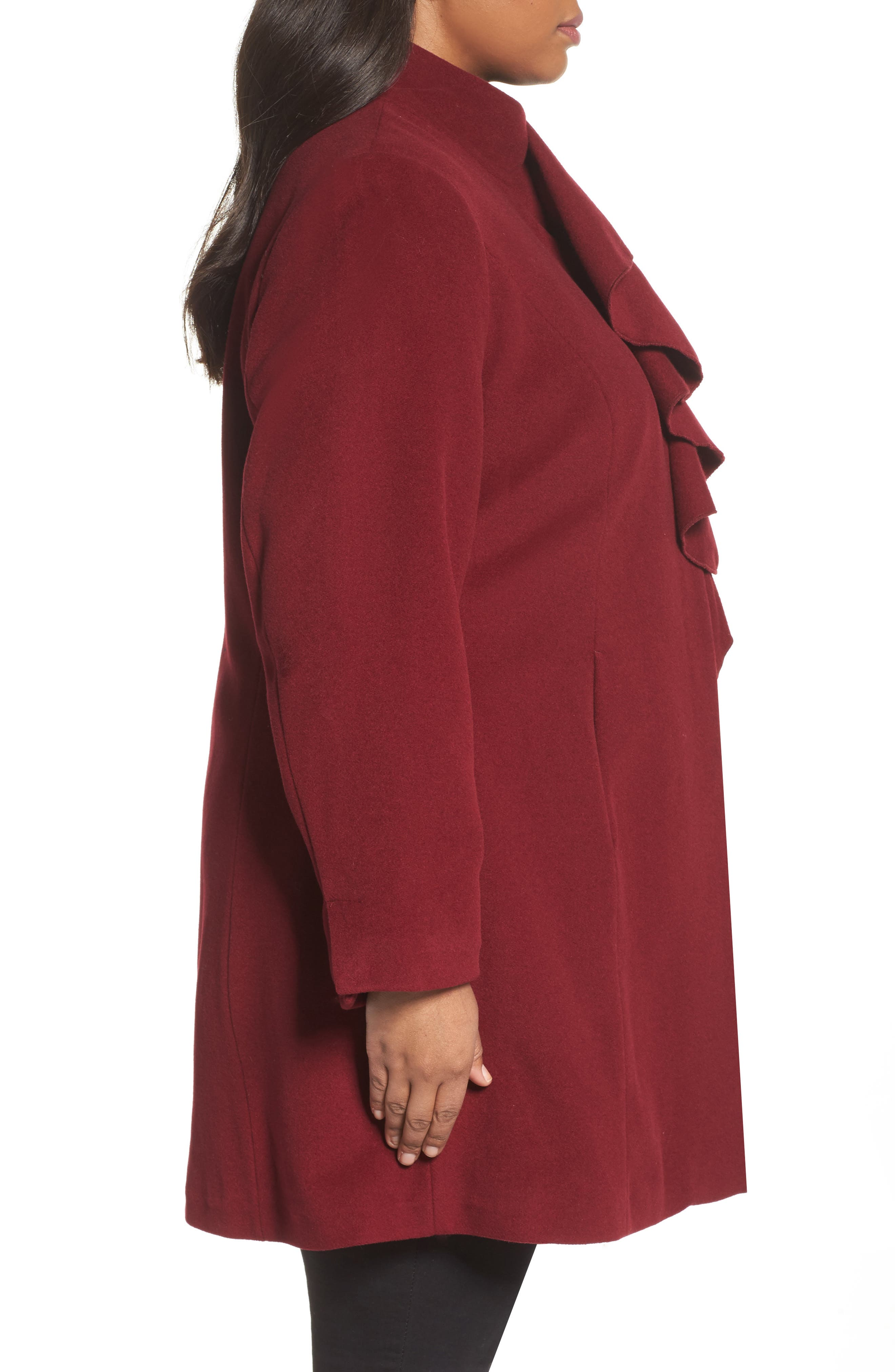 Kate Ruffle Wool Blend Coat,                             Alternate thumbnail 3, color,                             Berry