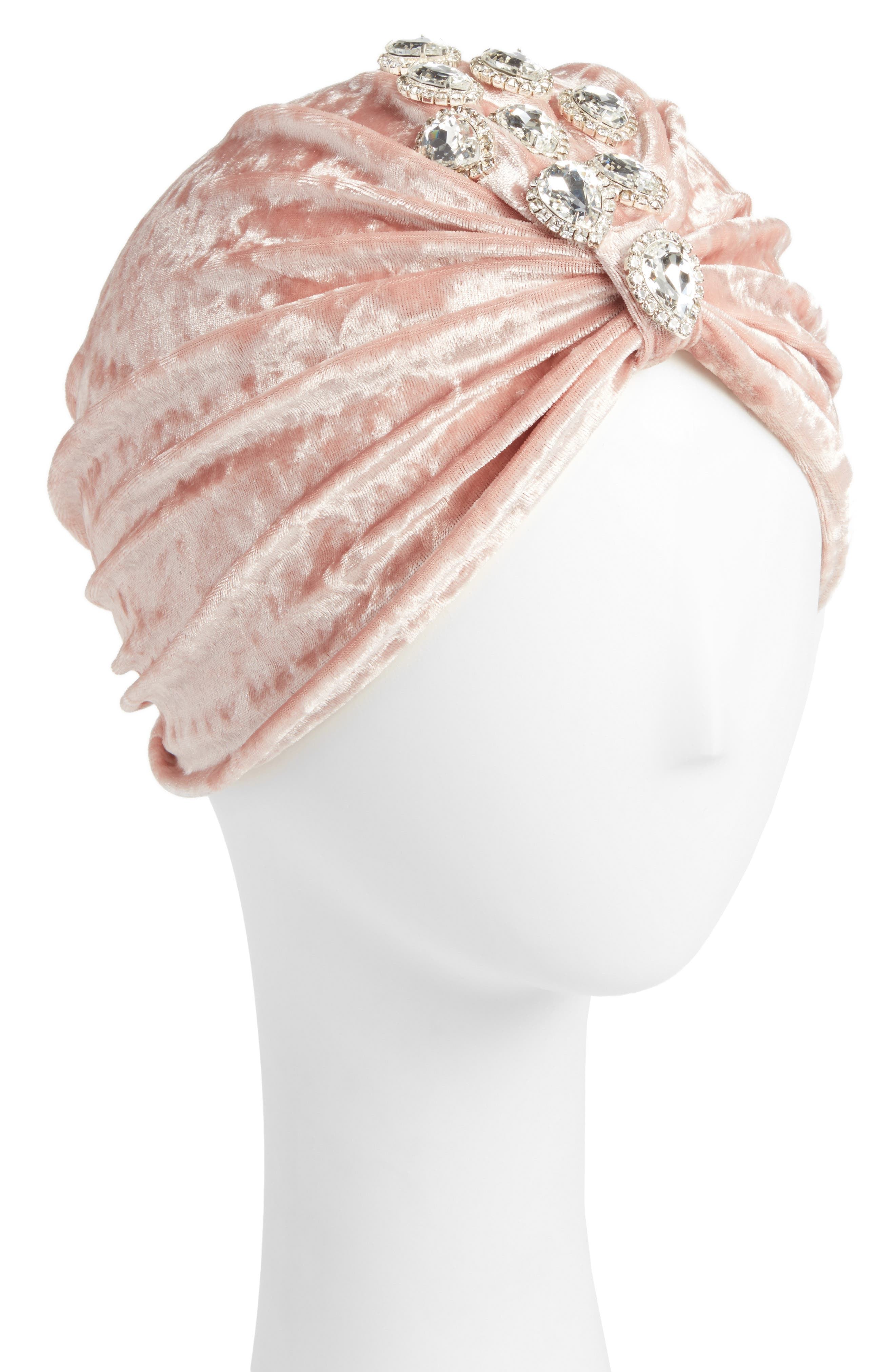 Pink Jeweled Turban,                         Main,                         color, Pink