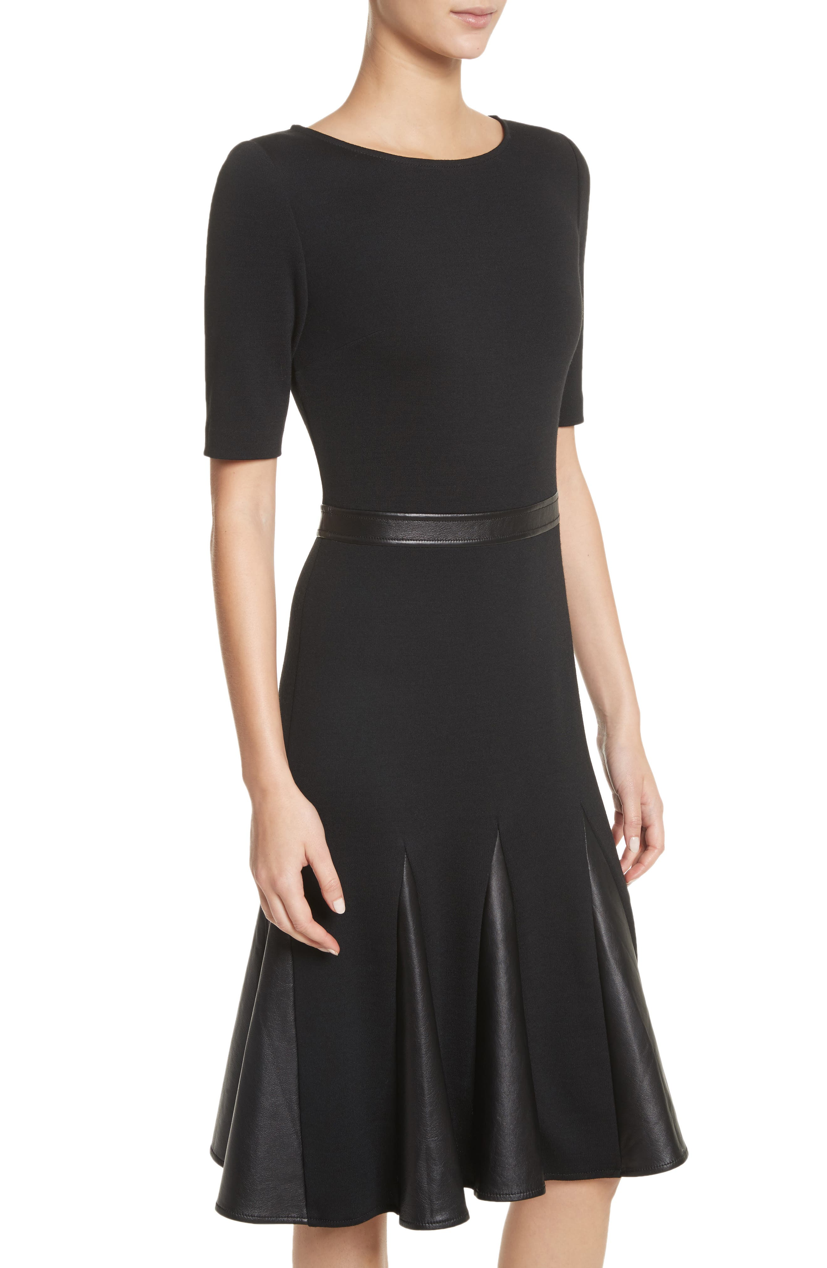 Alternate Image 4  - St. John Collection Pleated Milano Knit & Leather Dress
