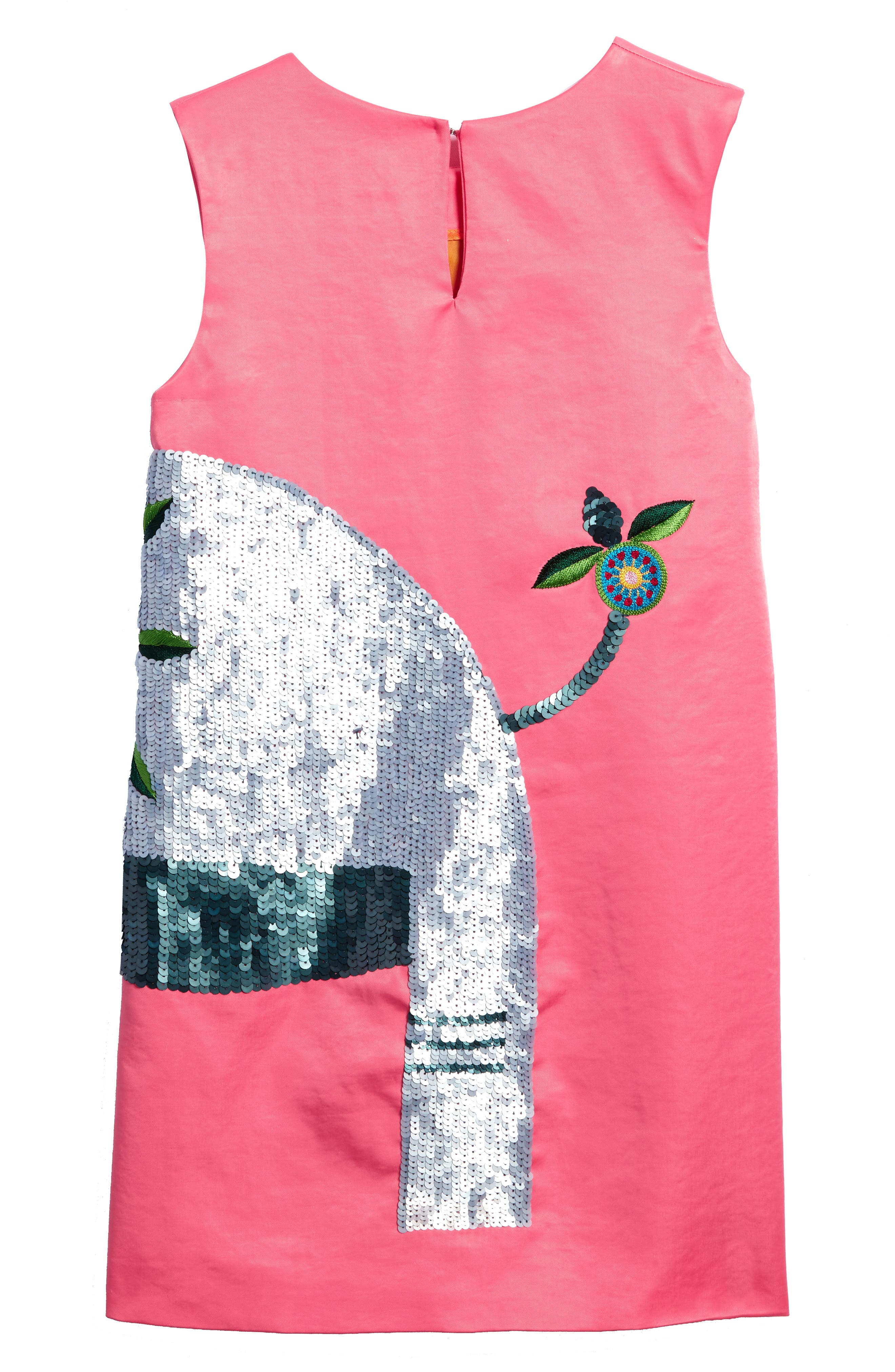 Beaded Elephant Shift Dress,                             Alternate thumbnail 2, color,                             Rose