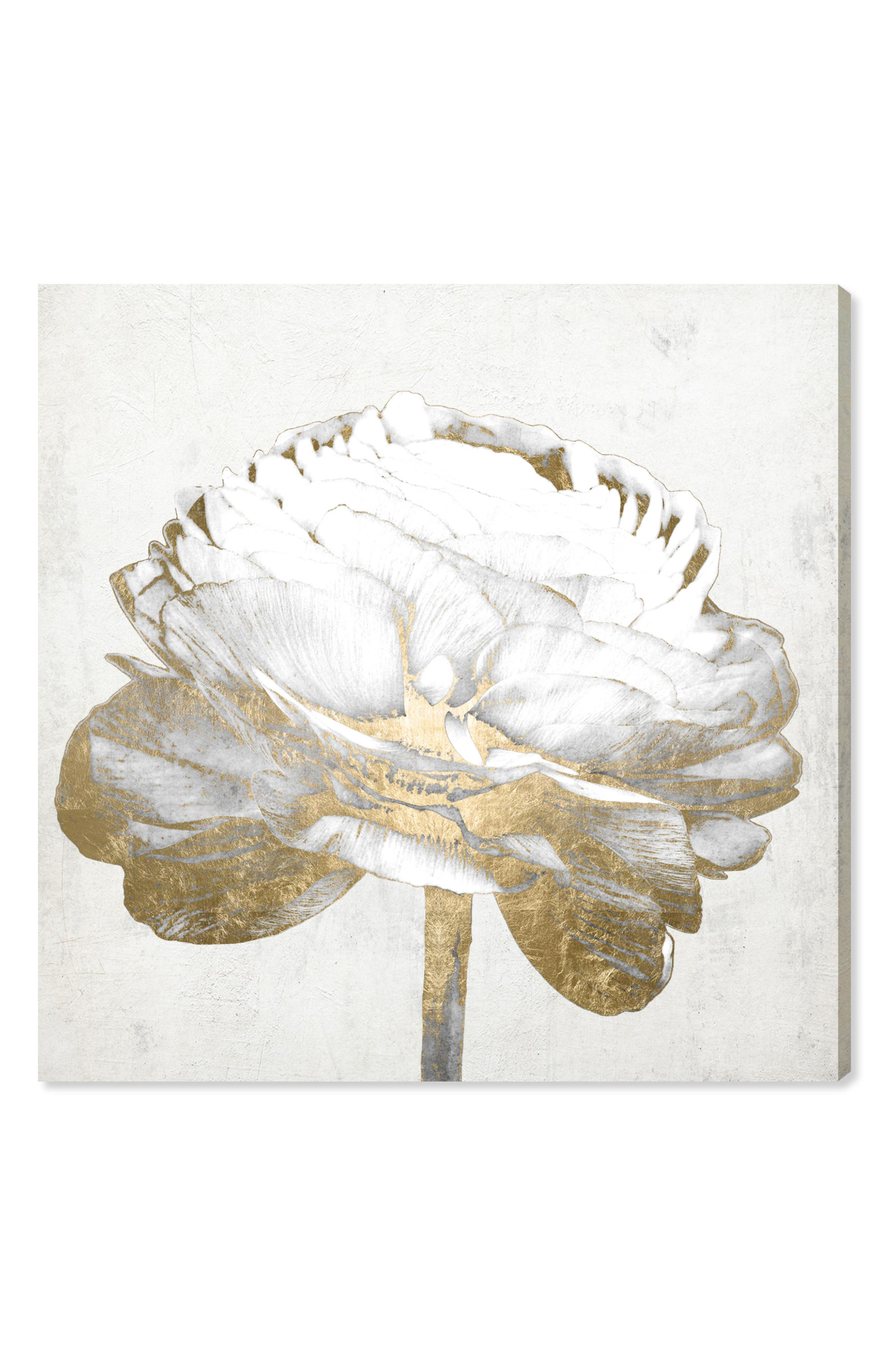 Main Image - Oliver Gal Gold & Light Floral II Canvas Wall Art