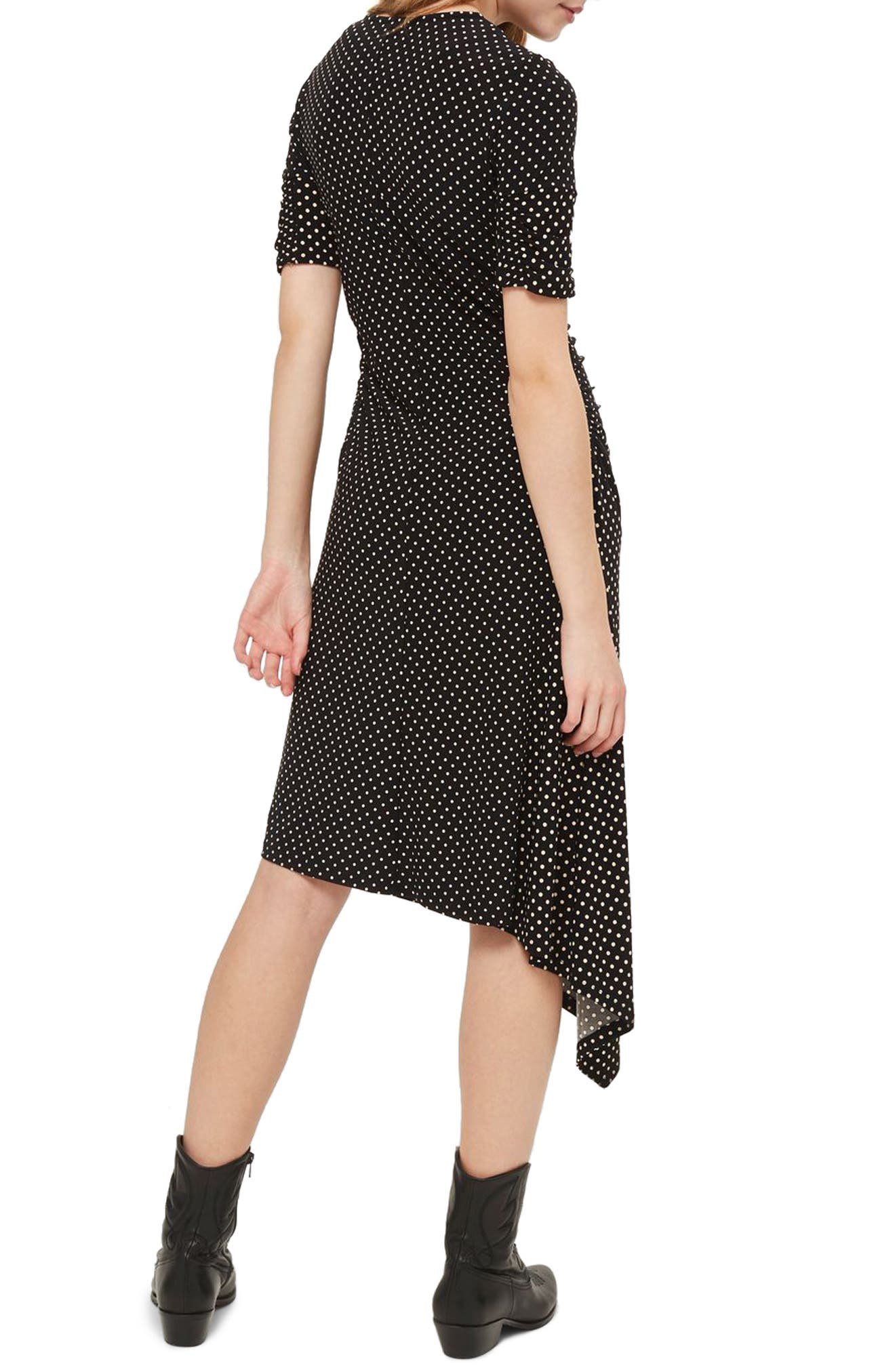 Polka Dot Asymmetrical Midi Dress,                             Alternate thumbnail 2, color,                             Black Multi