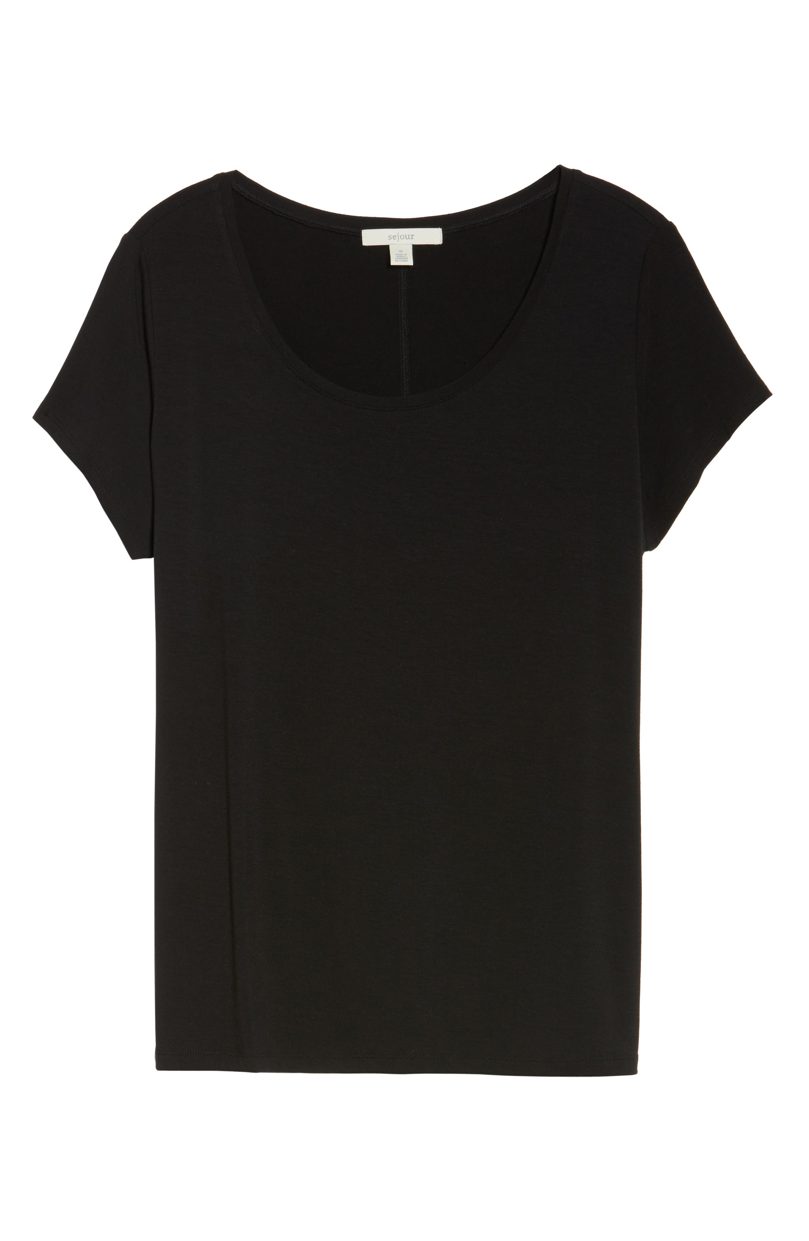 Stretch Scoop Neck Tee,                             Alternate thumbnail 6, color,                             Black