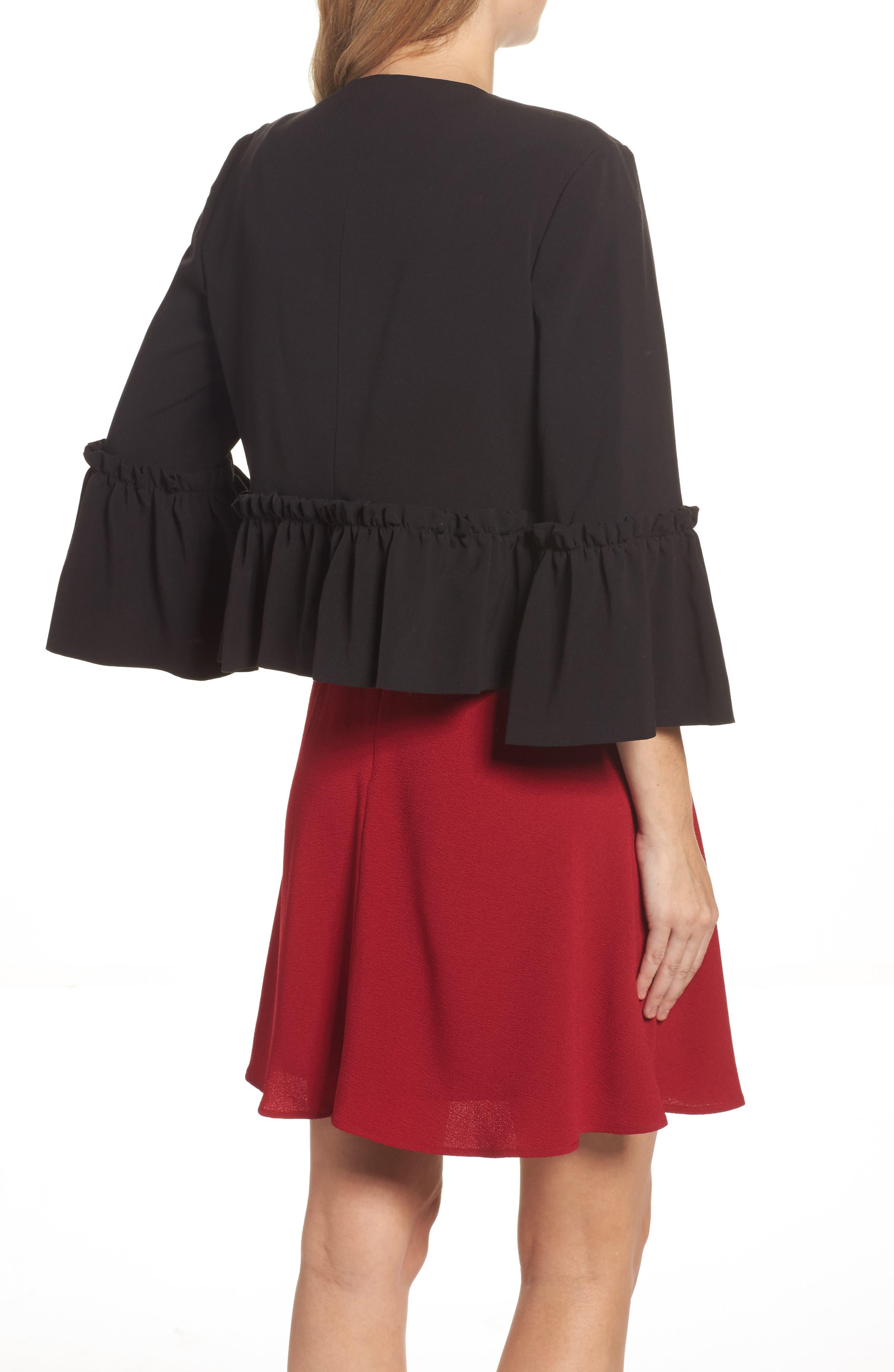 Bell Sleeve Crop Jacket,                             Alternate thumbnail 2, color,                             Black