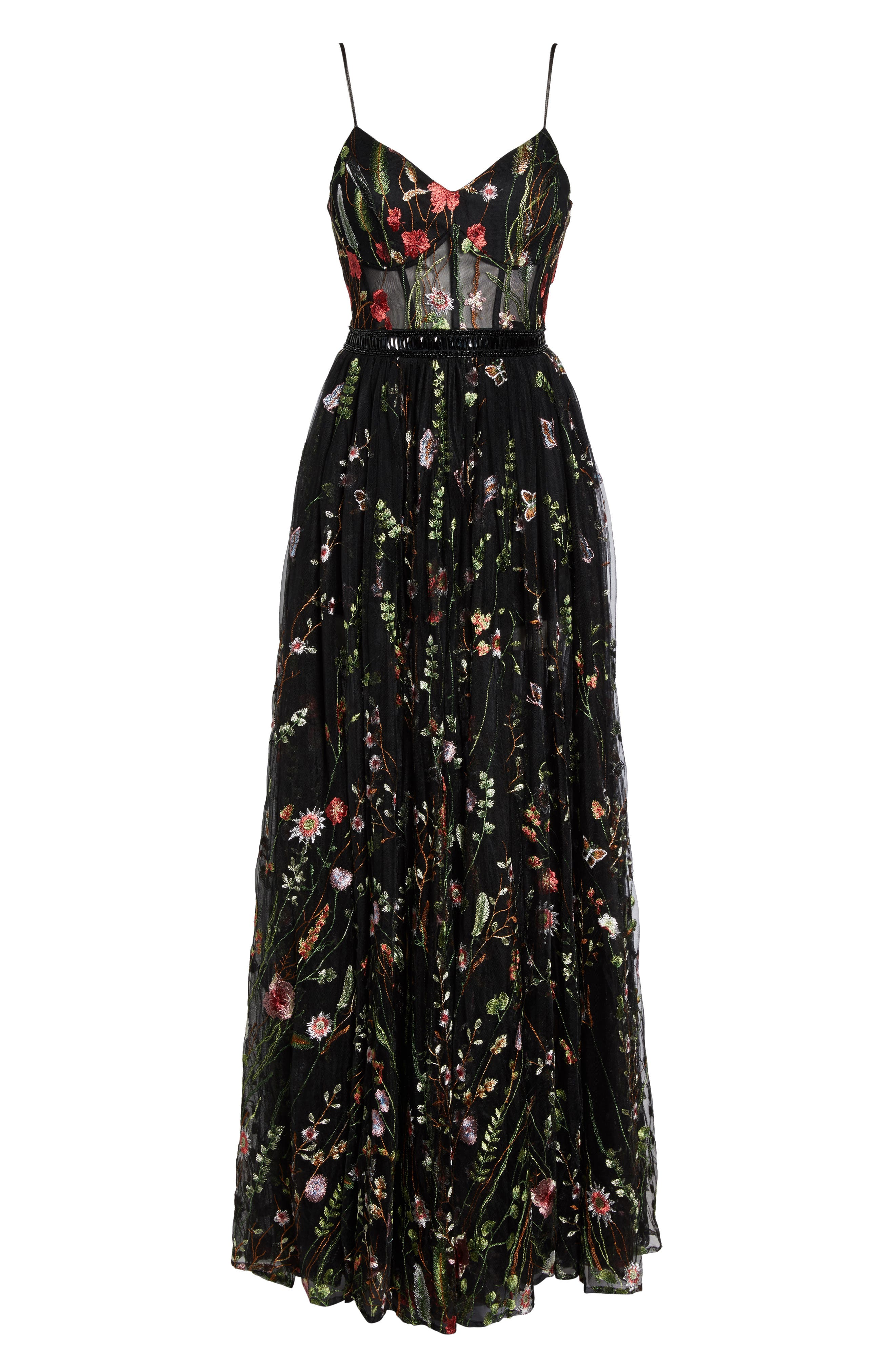 Embroidered Bustier Gown,                             Alternate thumbnail 6, color,                             Black/Multi
