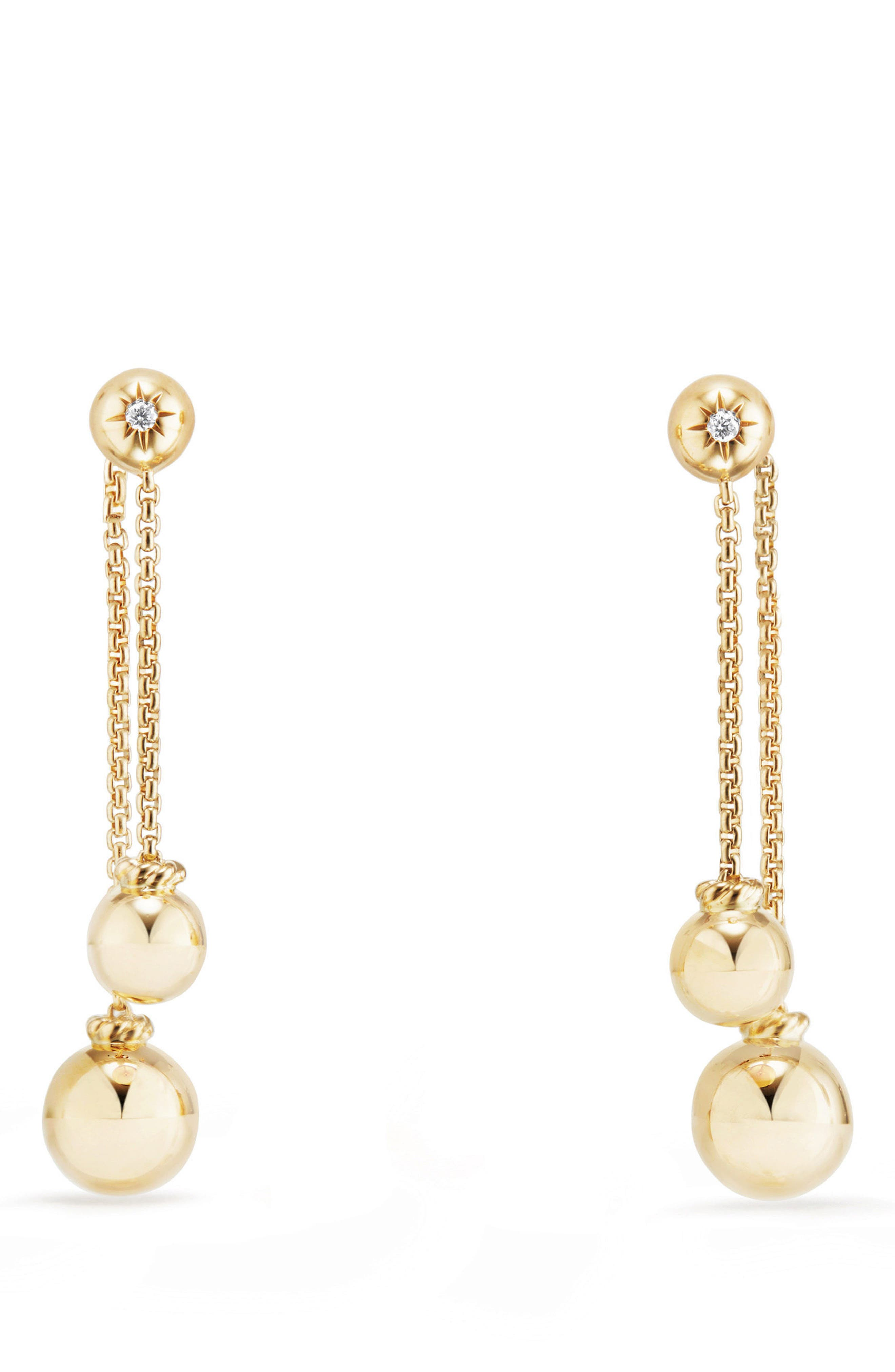 Solari Chain Drop Earrings with Diamonds in 18K Gold,                             Main thumbnail 1, color,                             Yellow Gold