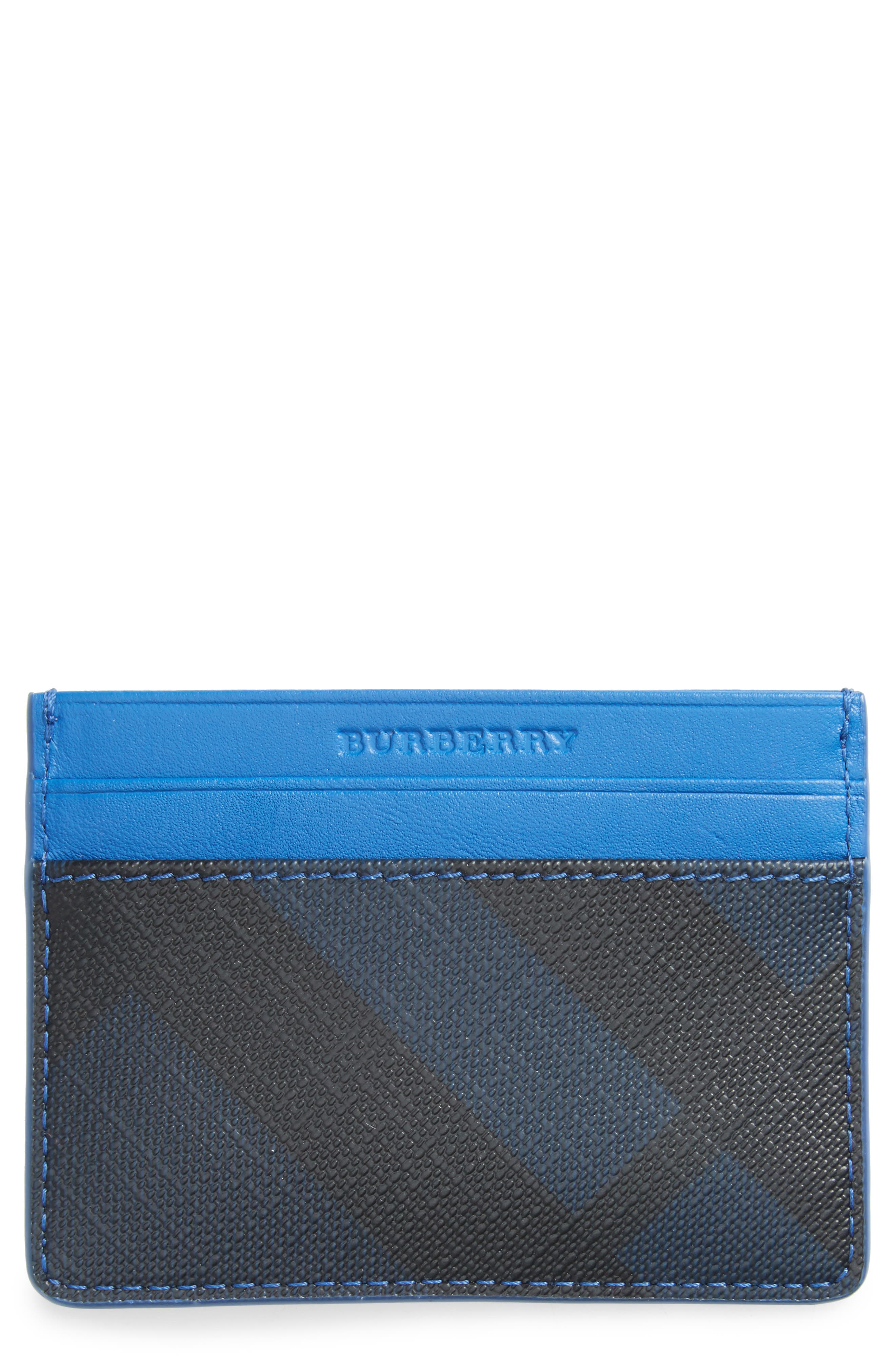 Check Faux Leather Card Case,                         Main,                         color, Navy/ Blue