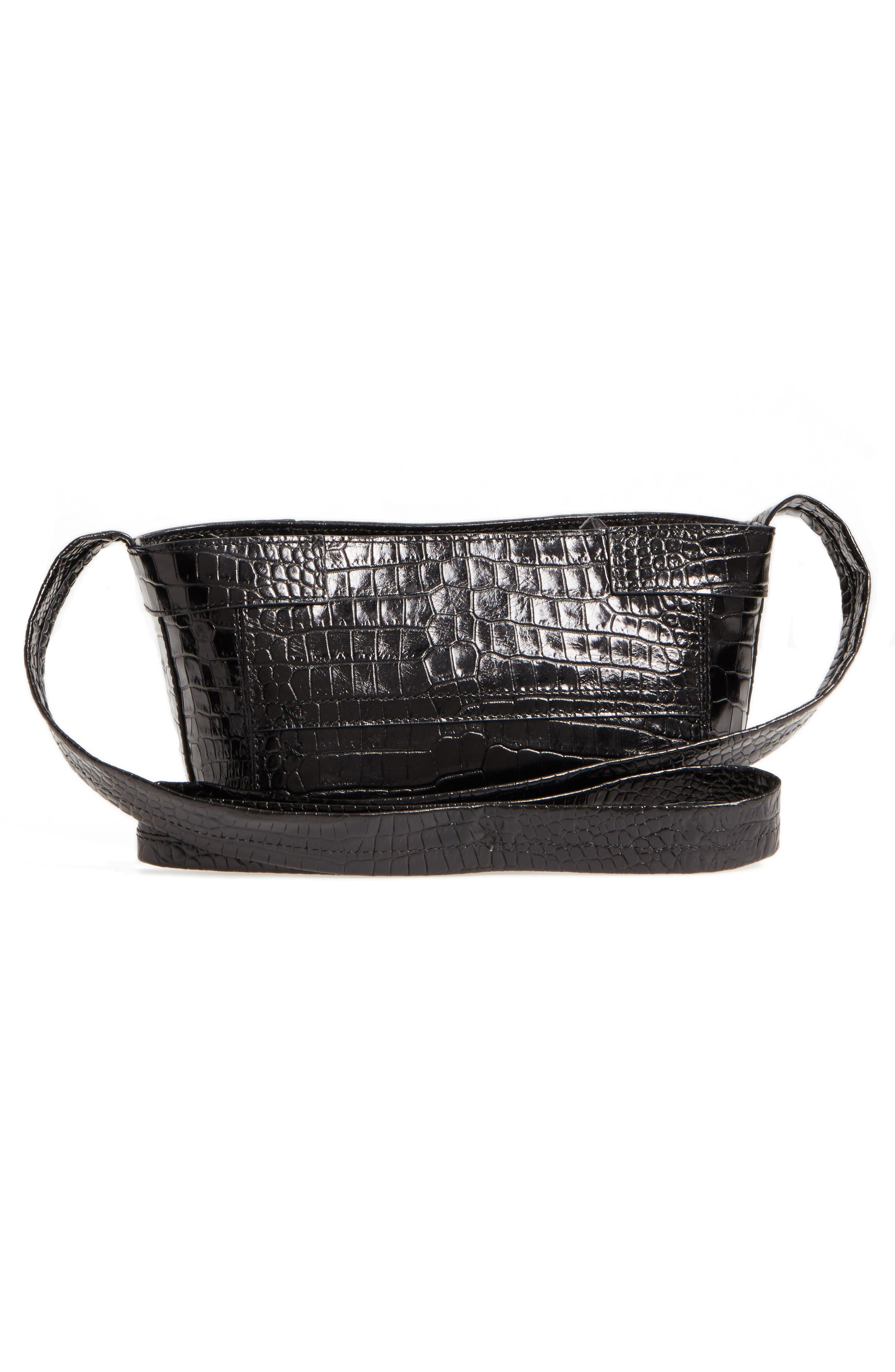 Keely Leather Crossbody Bag,                             Alternate thumbnail 3, color,                             Black