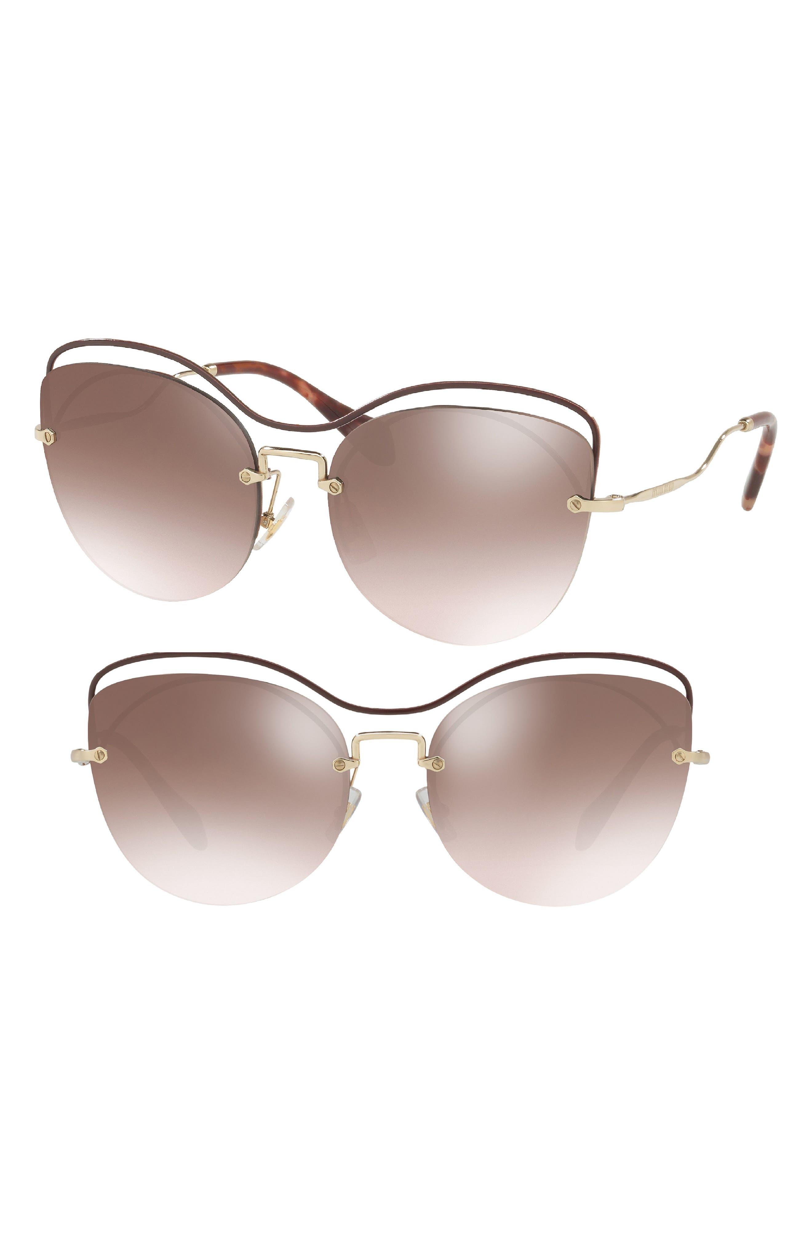 60mm Mirrored Cat Eye Sunglasses,                             Main thumbnail 1, color,                             Brown