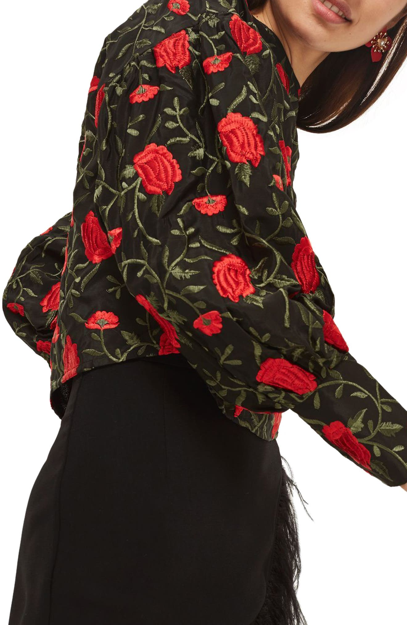 Rose Embroidered Balloon Sleeve Blouse,                             Alternate thumbnail 3, color,                             Black Multi