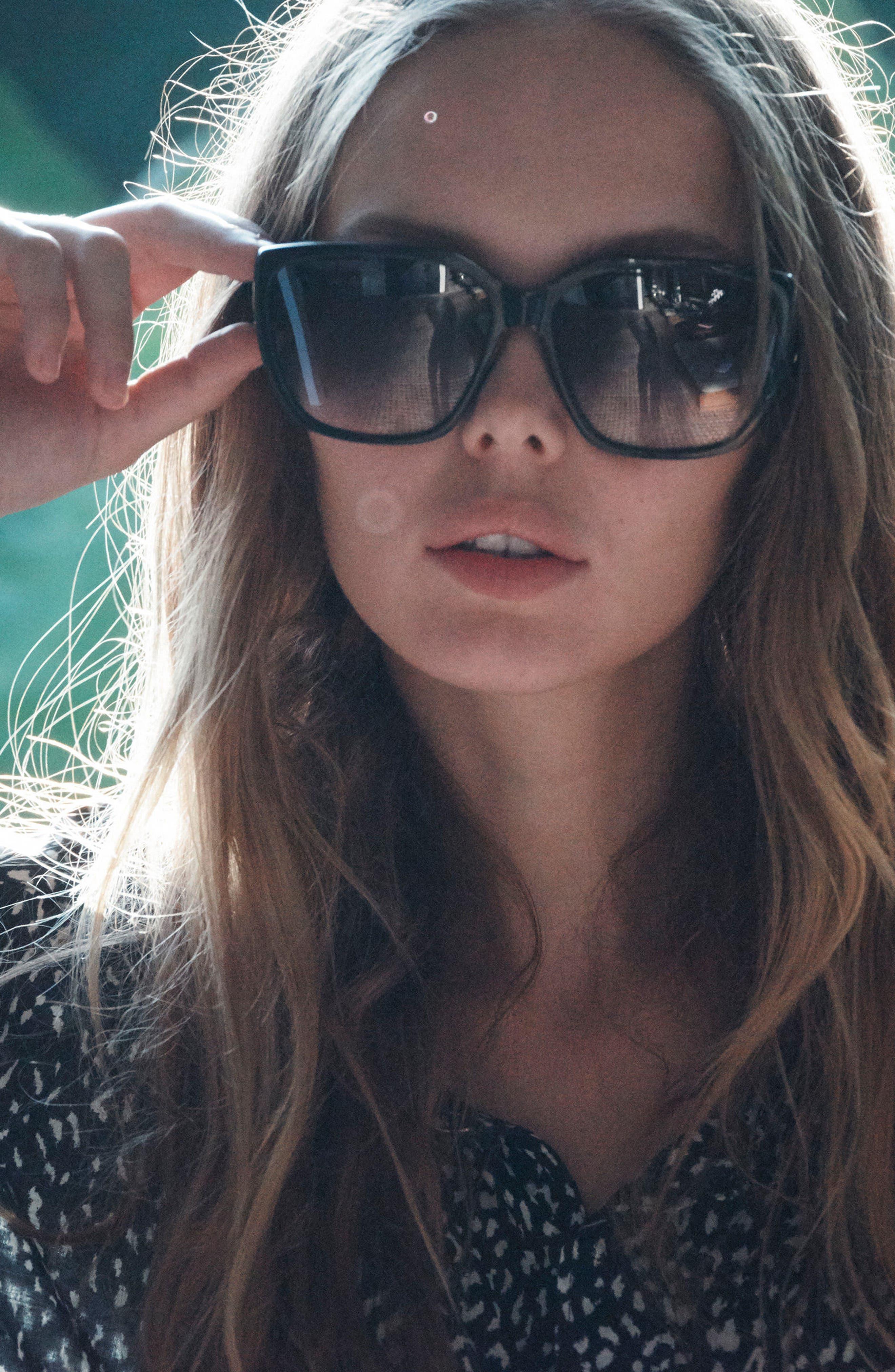 Honey Bee 60mm Mirrored Sunglasses,                             Alternate thumbnail 2, color,                             Matte Black/ Black Gradient