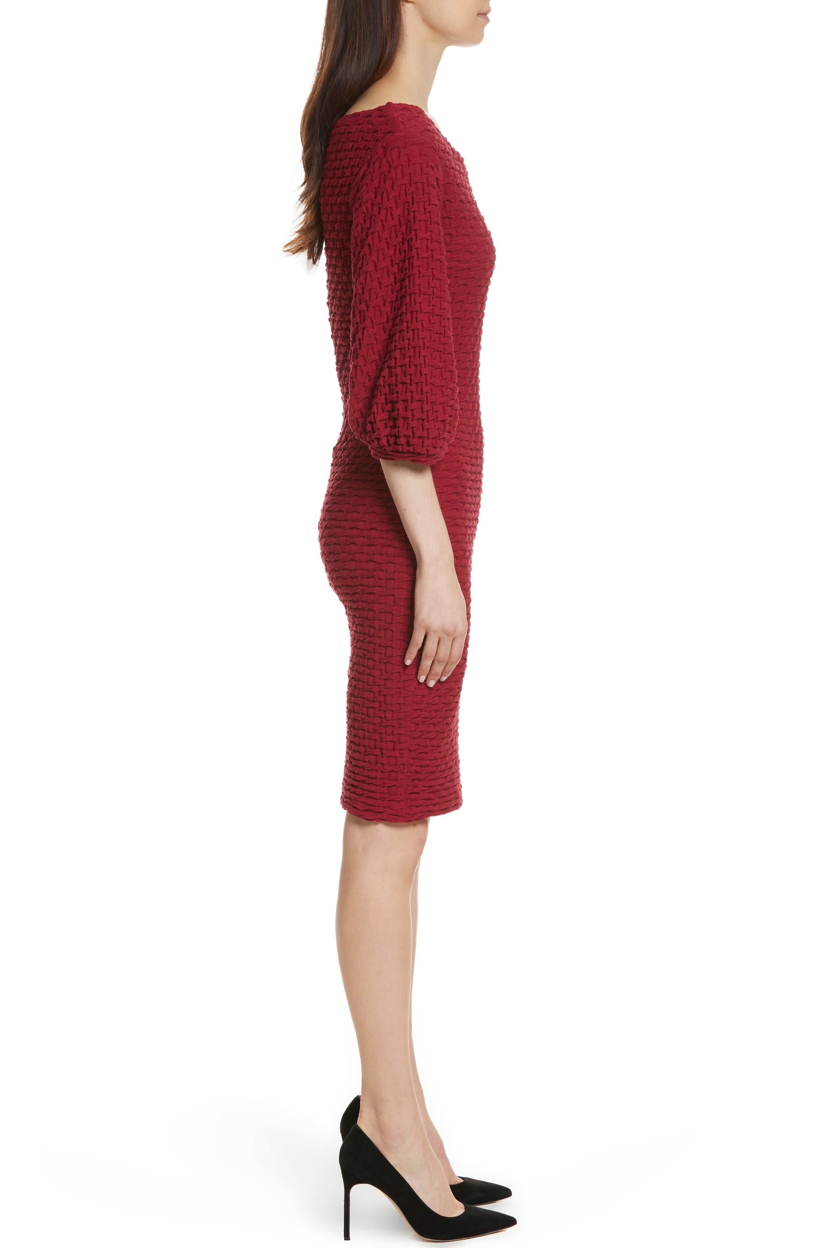 Basket Weave Balloon Sleeve Dress,                             Alternate thumbnail 3, color,                             Tibetan Red