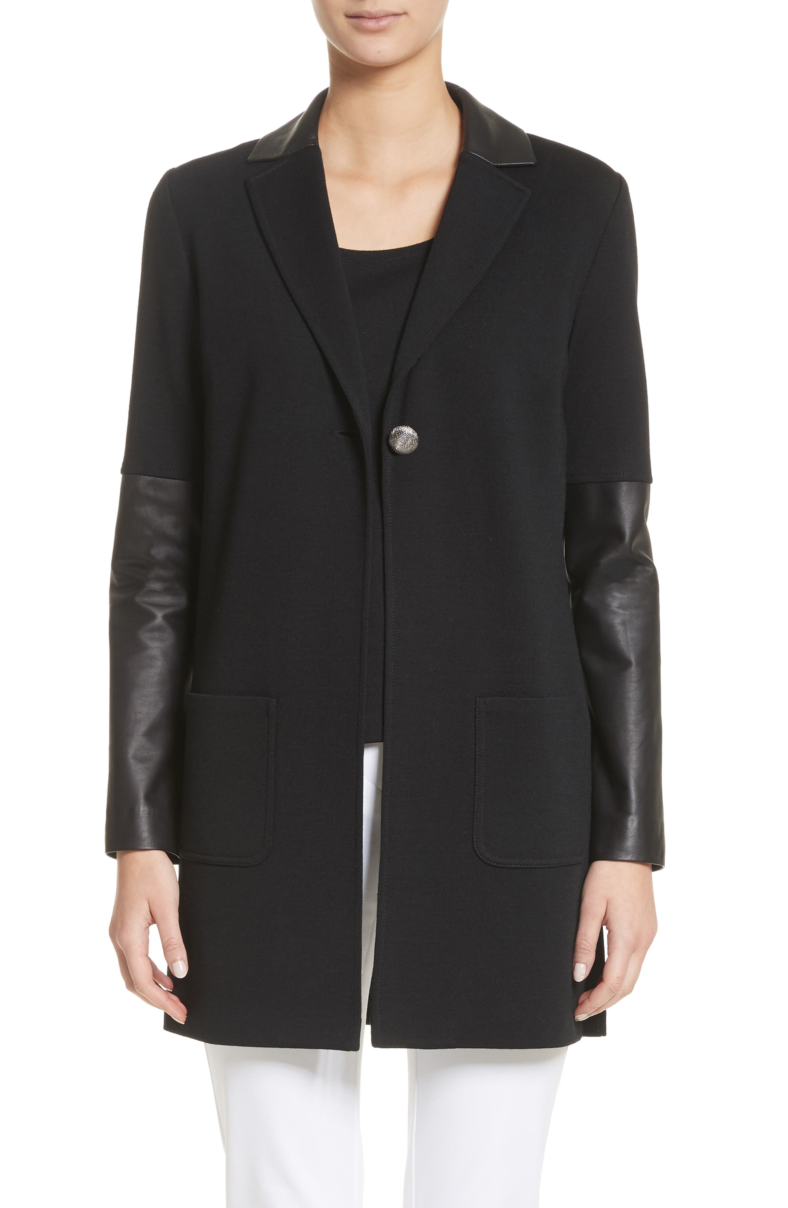 Leather Trim Milano Knit Wool Jacket,                         Main,                         color, Caviar