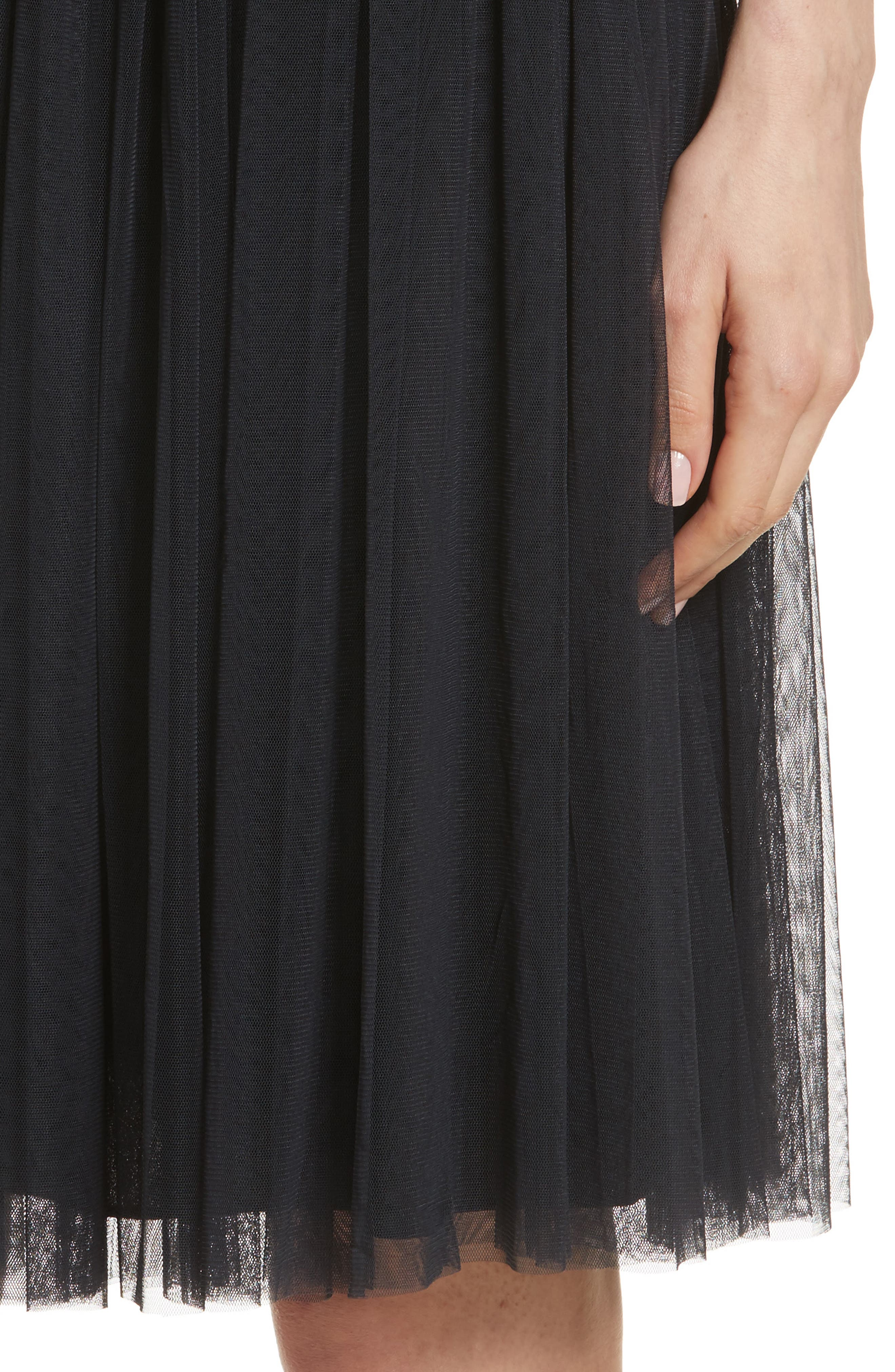 Pleated Tulle Skirt,                             Alternate thumbnail 4, color,                             Washed Black