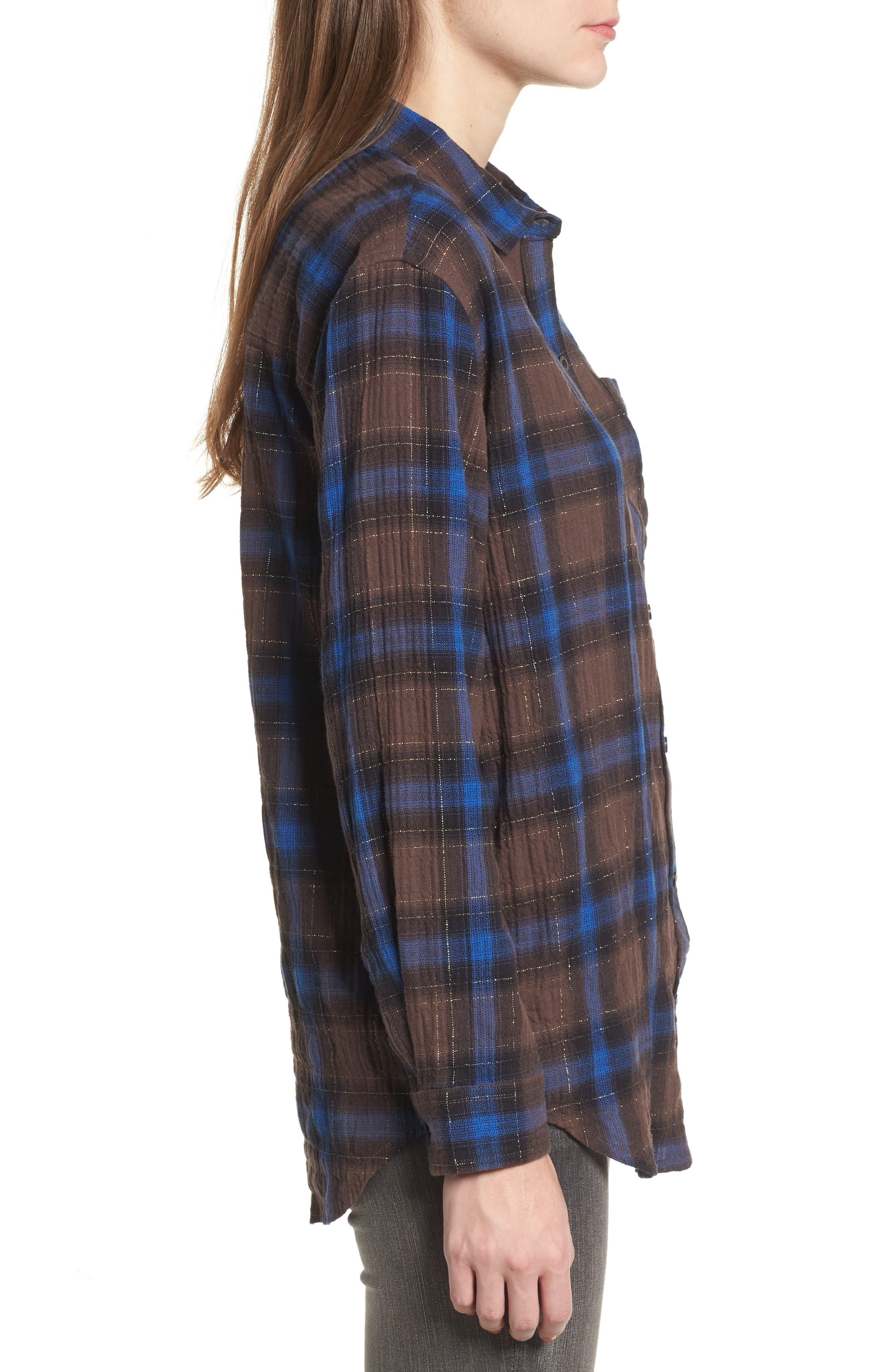 Eldorado Plaid Shirt,                             Alternate thumbnail 3, color,                             Brown Multi