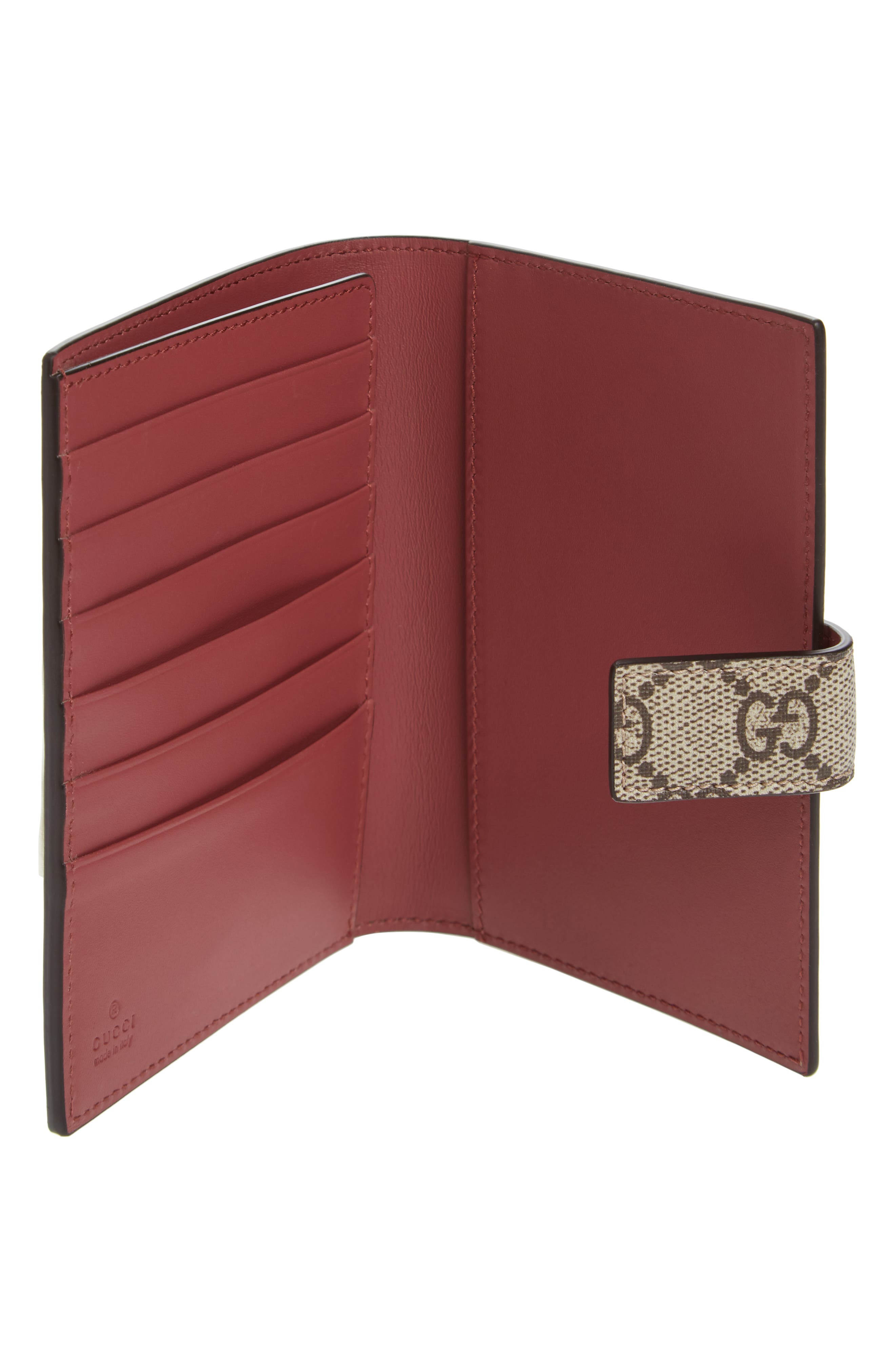 Blooms GG Canvas Passport Case,                             Alternate thumbnail 2, color,                             Beige Ebony/Dry Rose