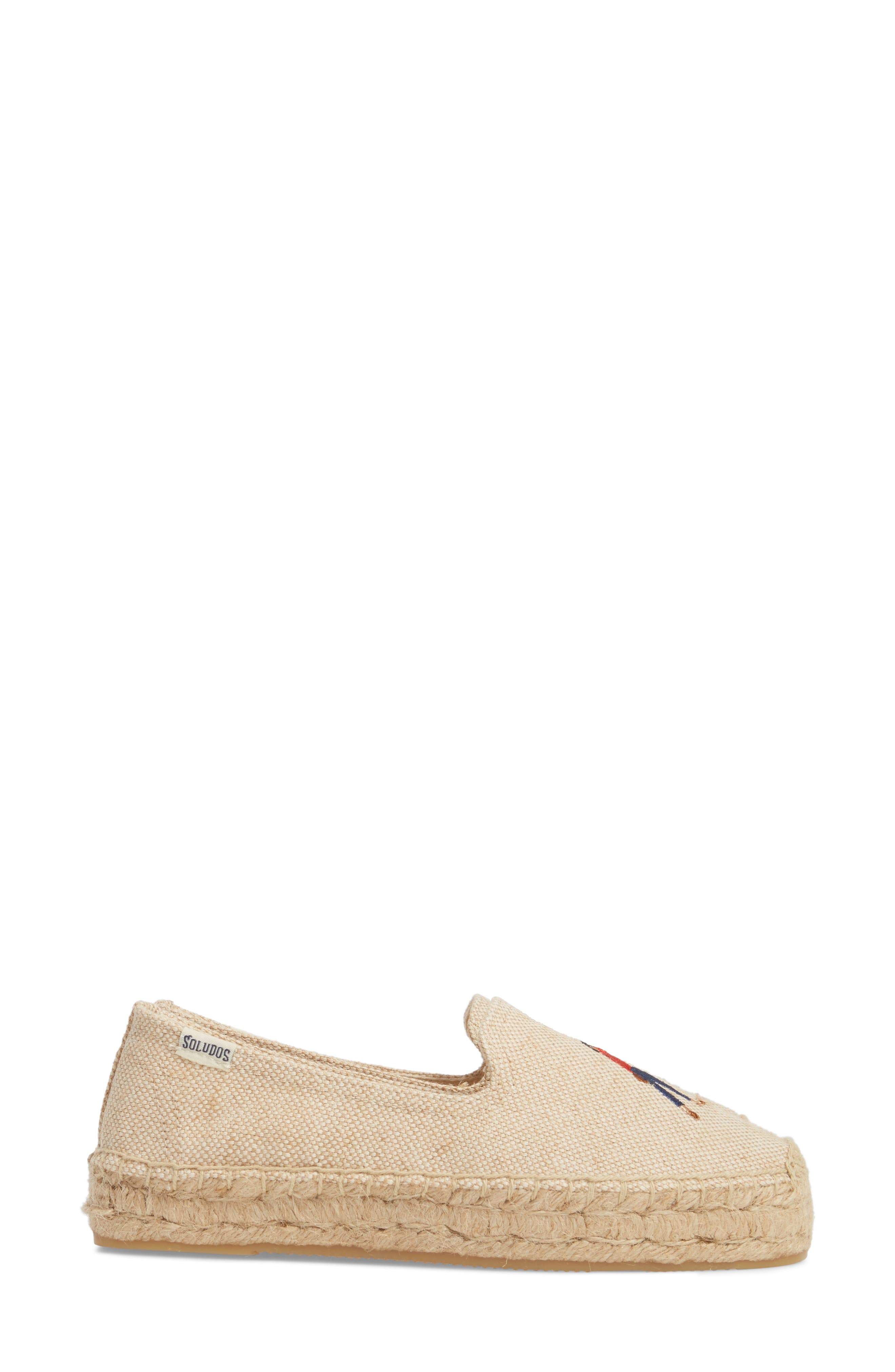 Taxi Embroidered Platform Espadrille,                             Alternate thumbnail 4, color,                             Natural Canvas