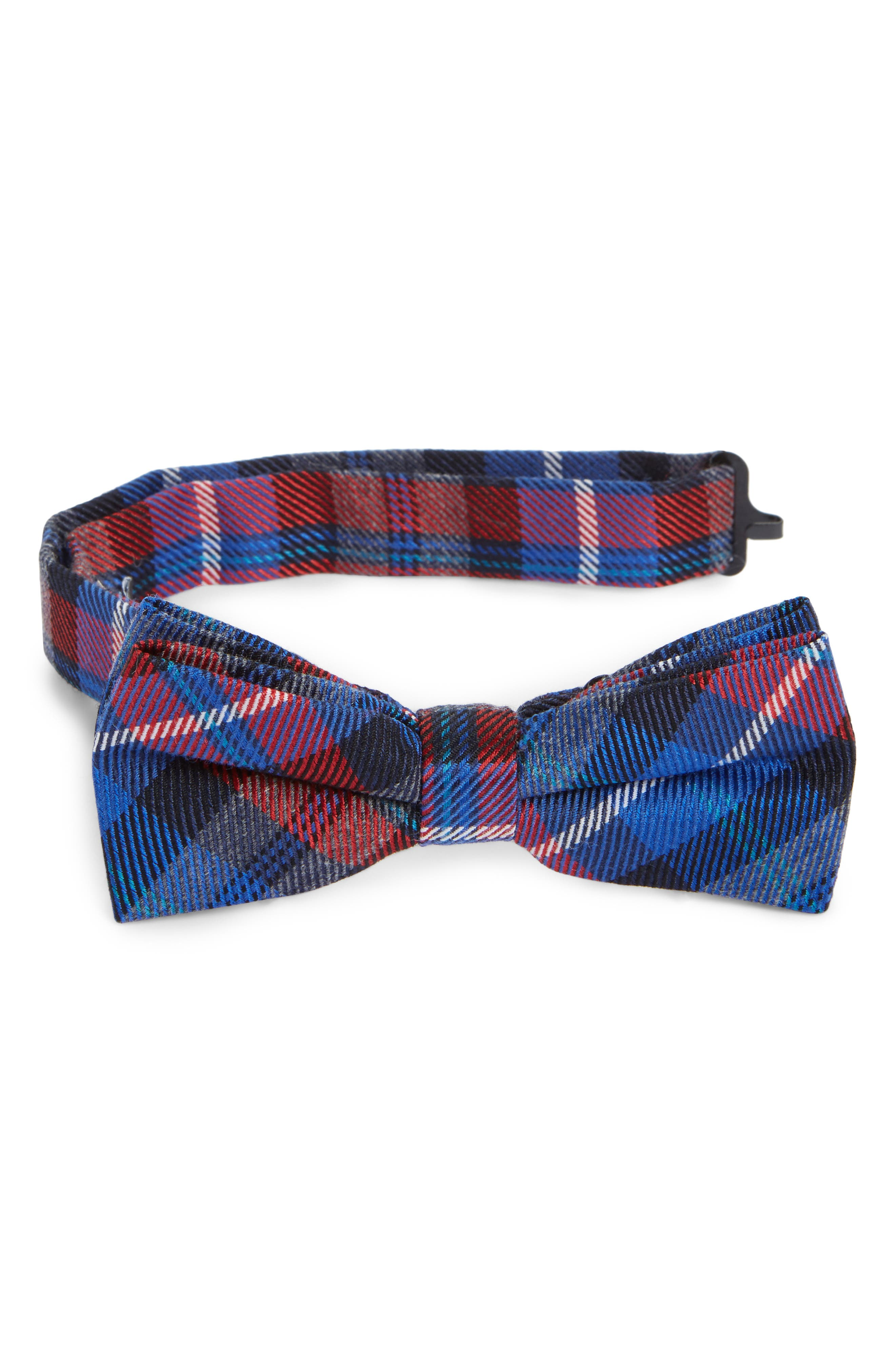 Plaid Bow Tie,                         Main,                         color, Red