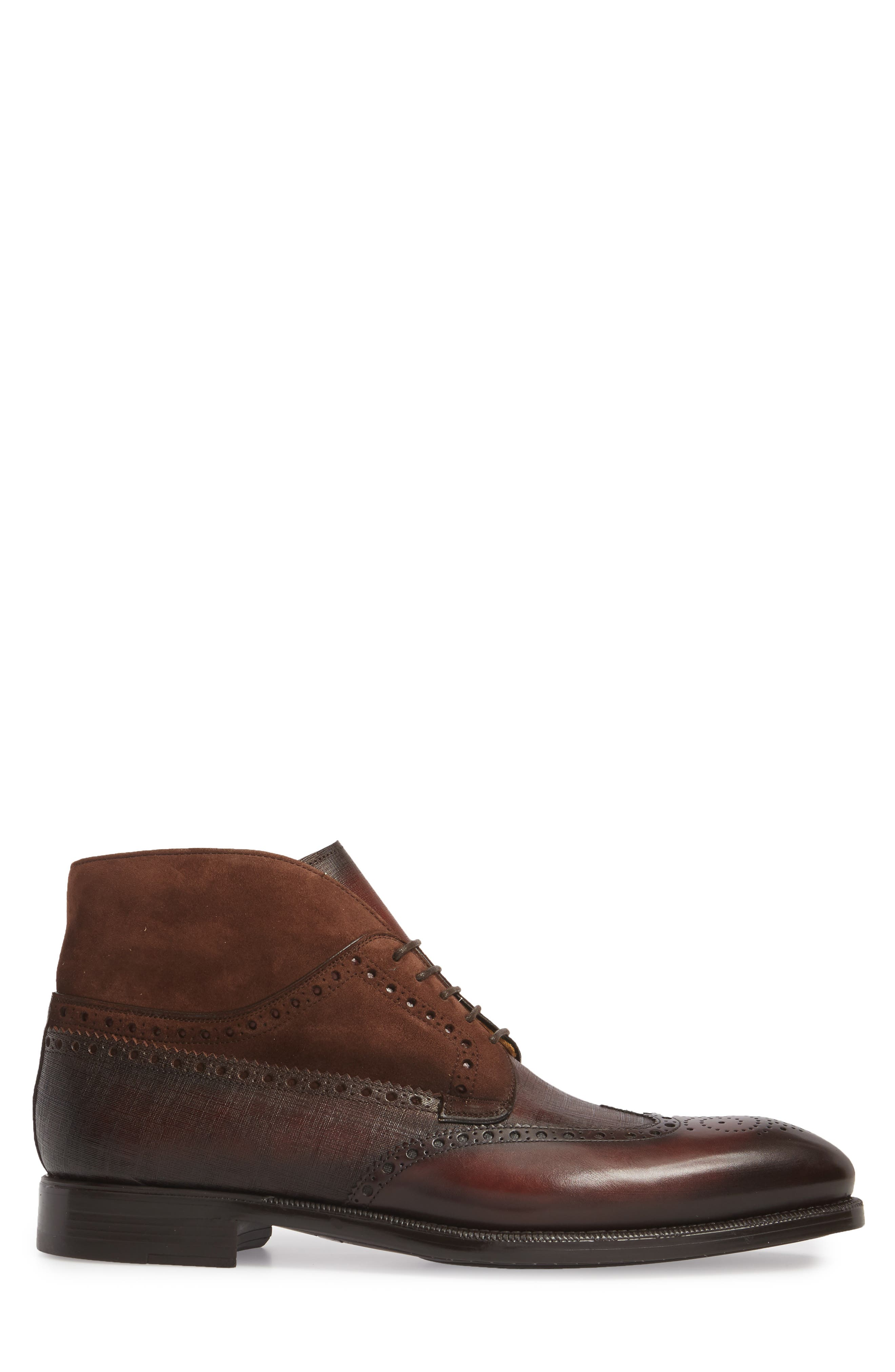 Saxon Wingtip Boot,                             Alternate thumbnail 3, color,                             Mid-Brown Leather