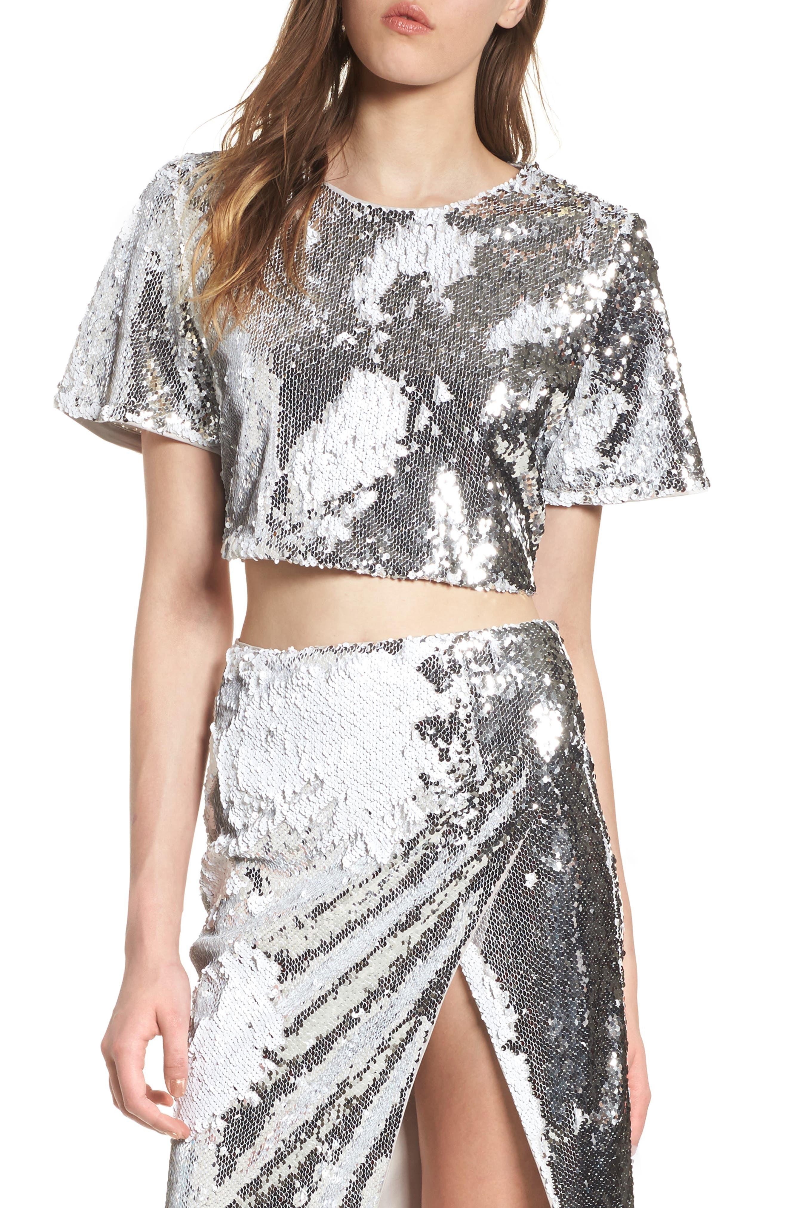 Raine Sequin Crop Top,                         Main,                         color, Silver