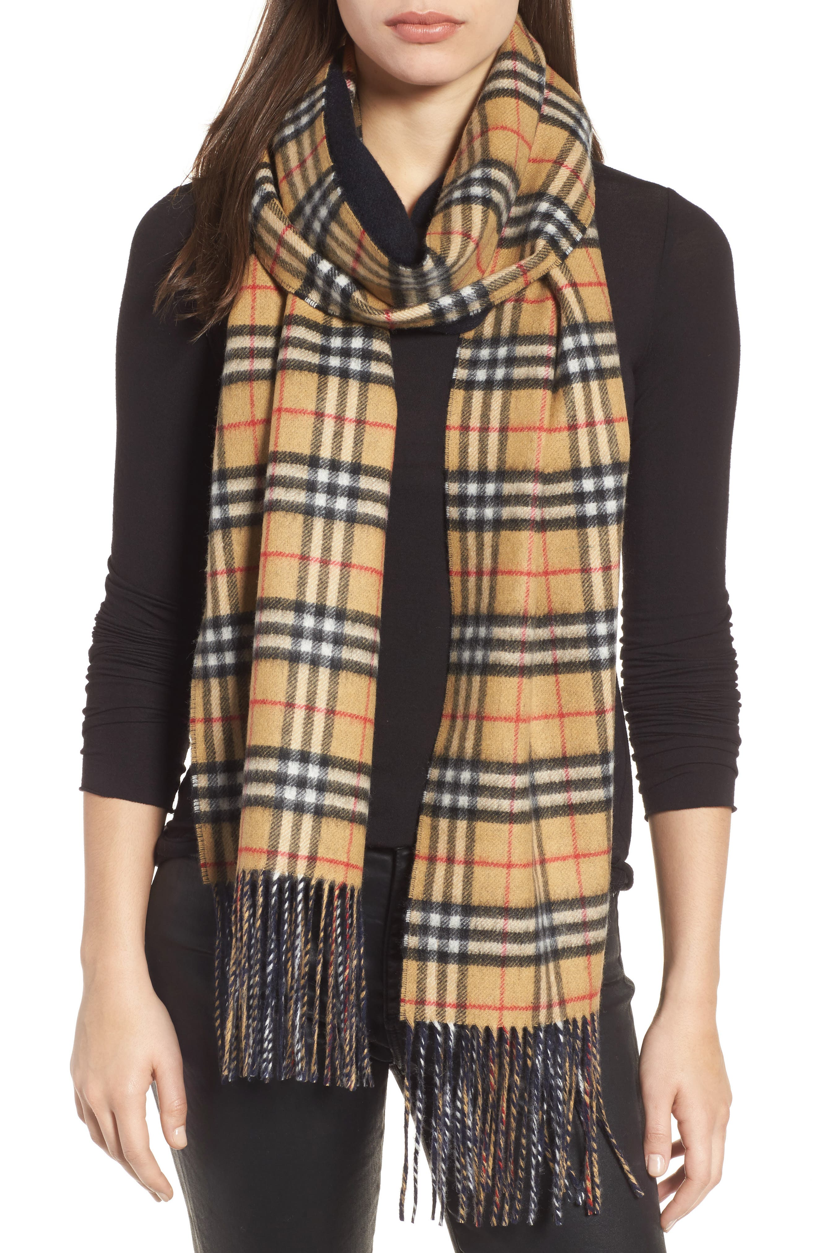 Reversible Vintage Check Cashmere Scarf,                             Main thumbnail 1, color,                             Blue Carbon